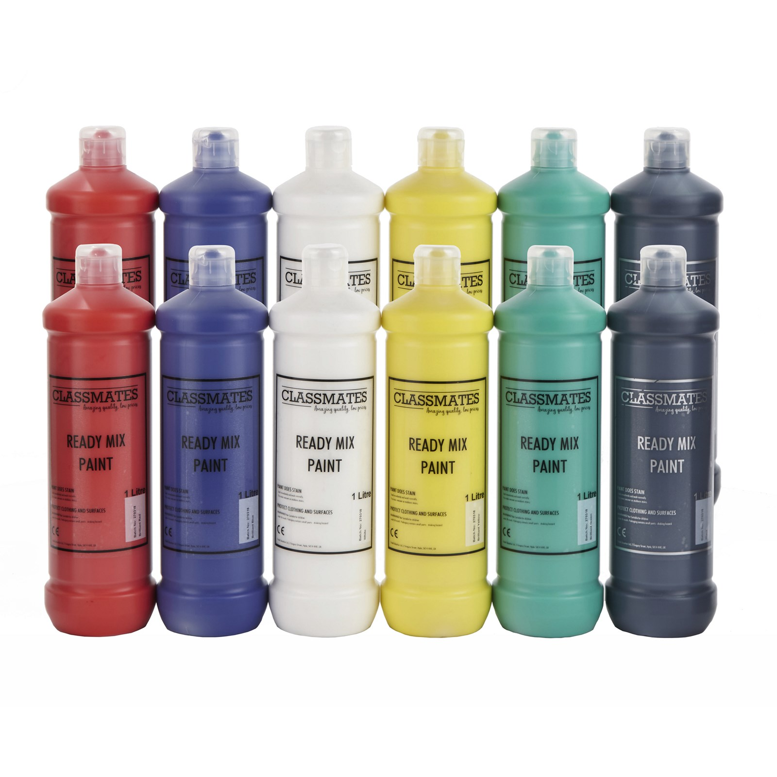 Classmates Ready Mixed Paint in Assorted - Pack of 12 - 1 Litre Bottle