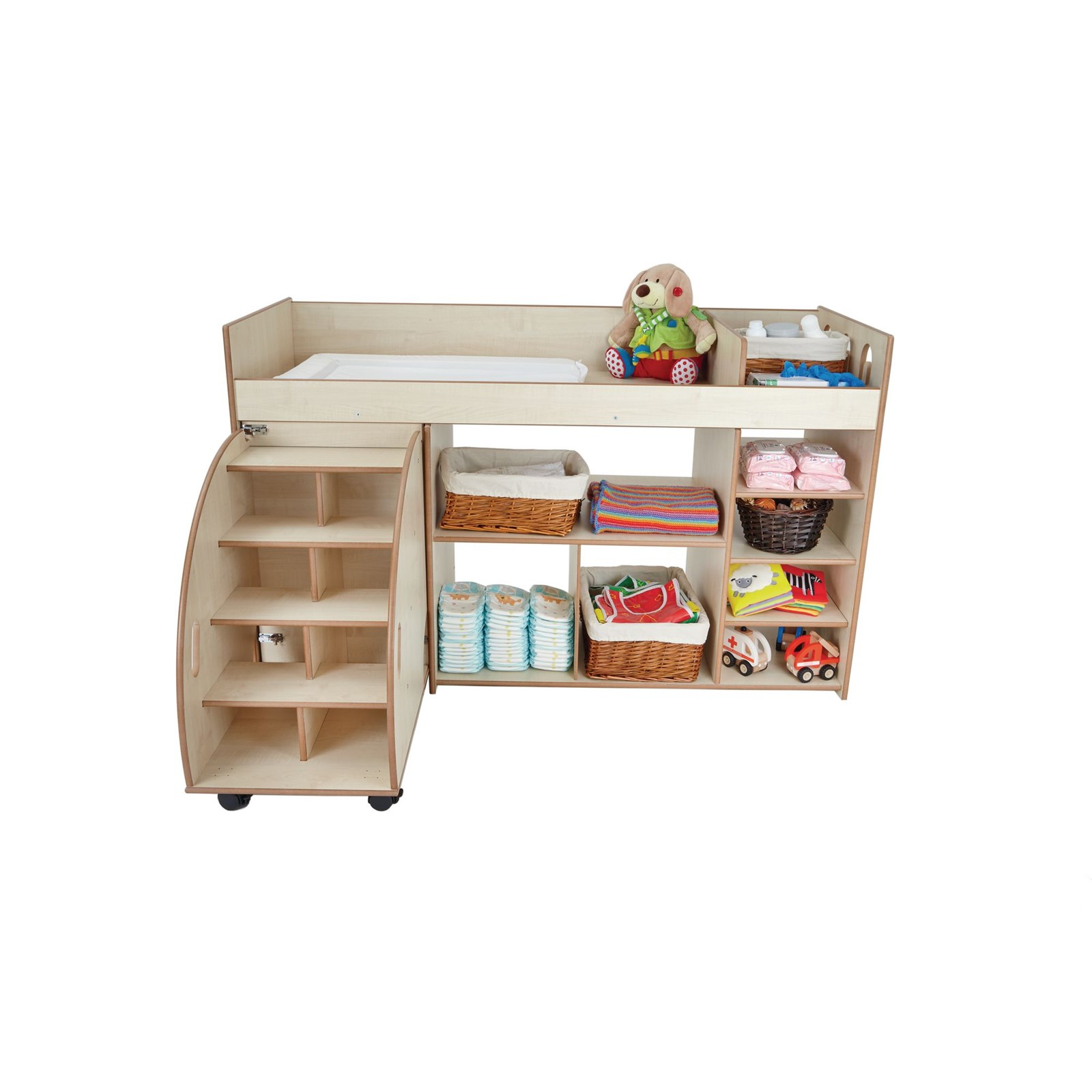 Wooden Baby Changing Station with Steps