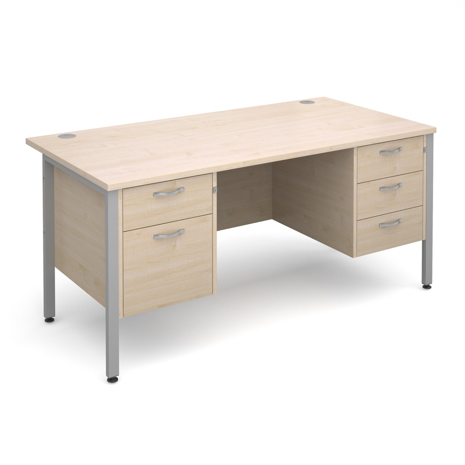 Straight Desk with 2 and 3 Drawer Pedestals - Maple