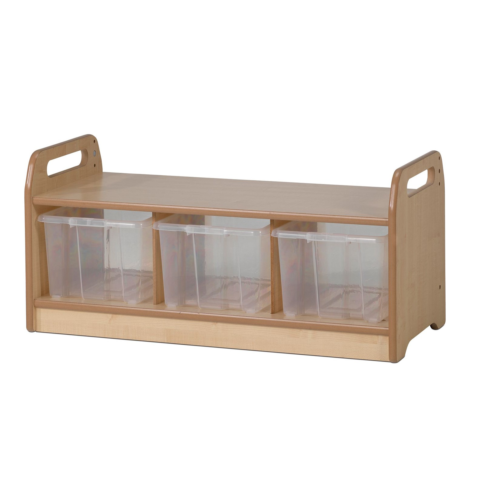 Playscapes Low Level Storage Bench with Clear Tubs