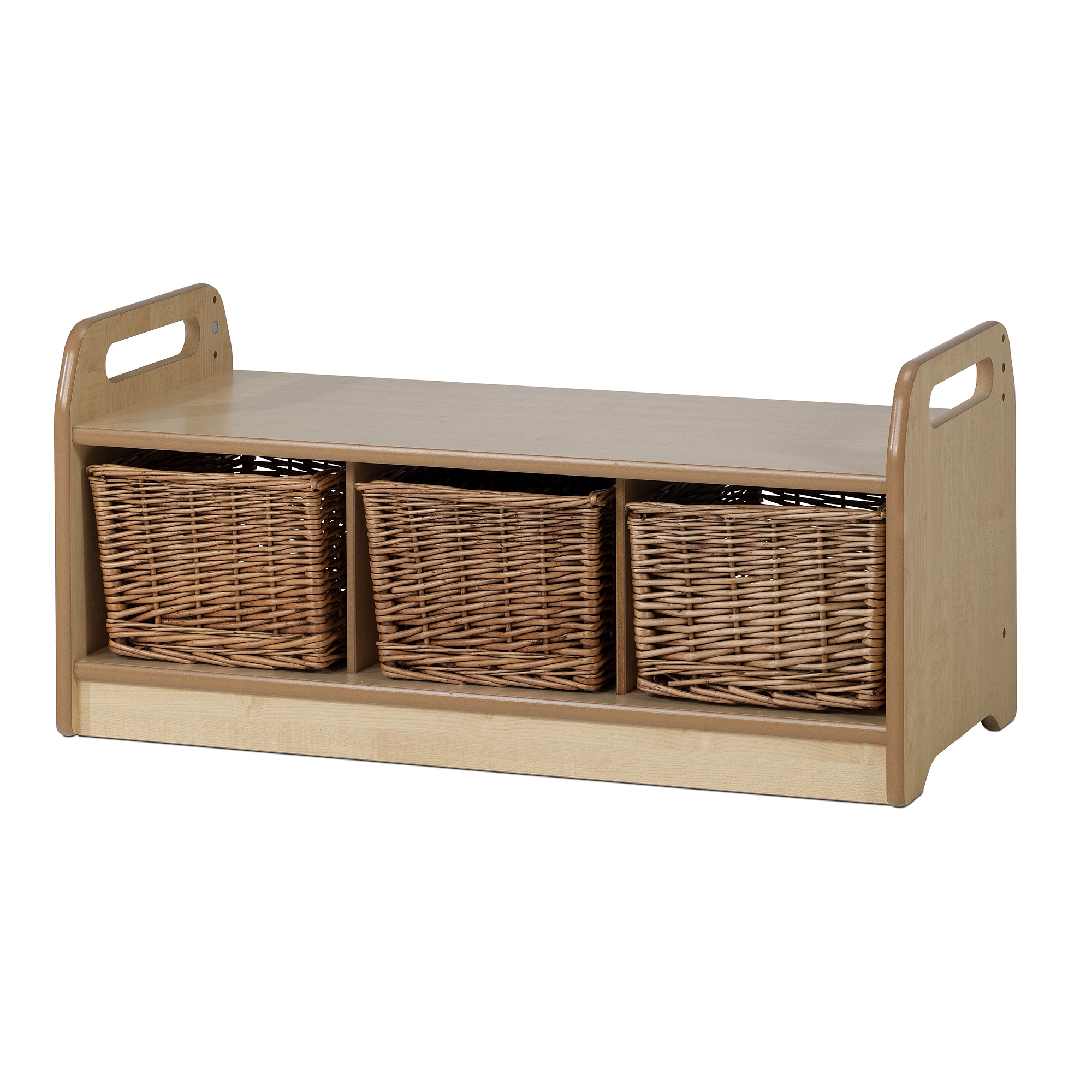 Remarkable Low Level Storage Bench 3 Wicker Baskets Camellatalisay Diy Chair Ideas Camellatalisaycom