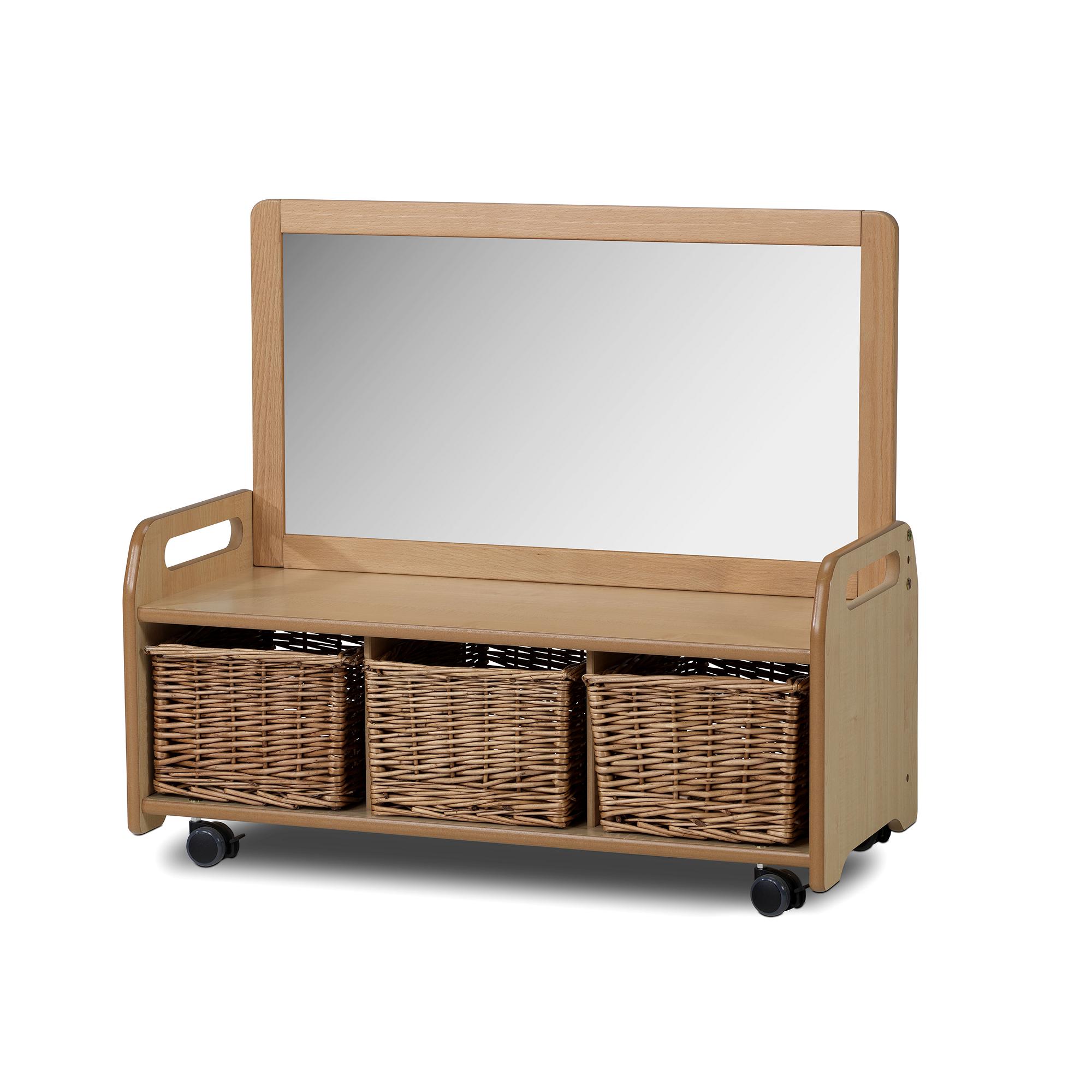 Millhouse Mobile Mirror Storage Unit 3 Wicker Baskets Hope