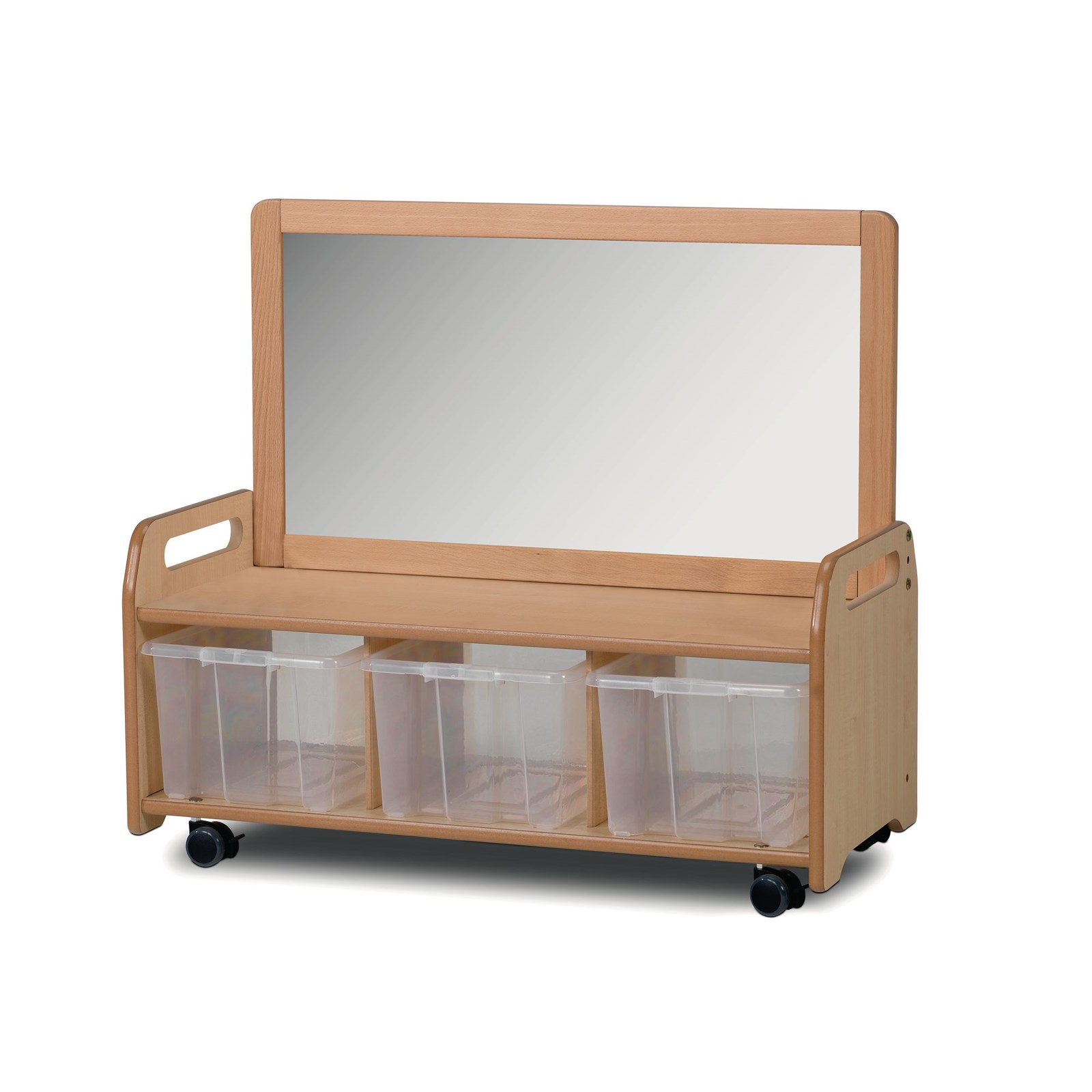 Playscapes Mobile Mirror Storage Unit - Clear Tubs