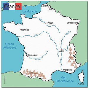 Map Of France With Cities And Rivers.Simple Map Of France