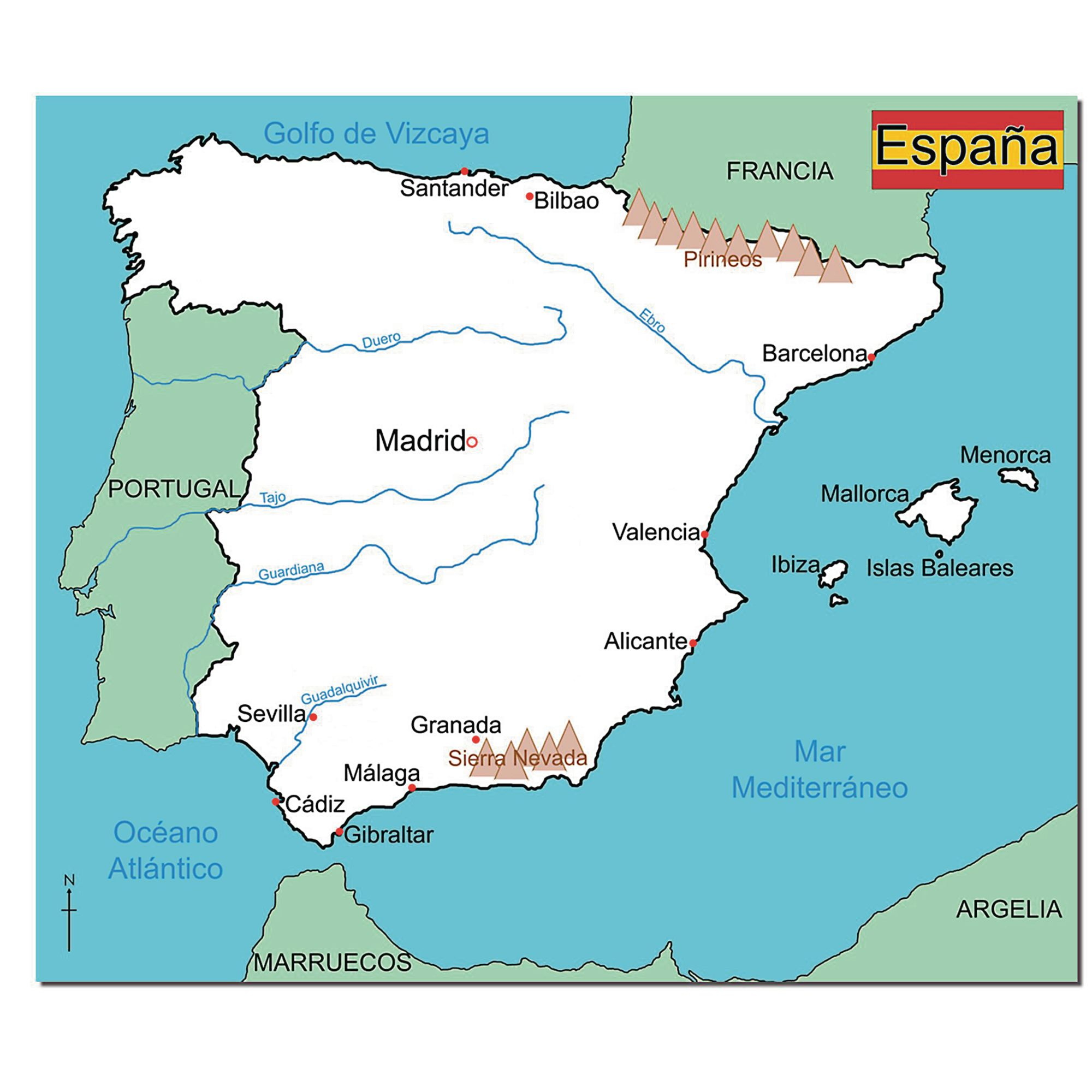 Map Of Spain Ebro River.Simple Map Of Spain