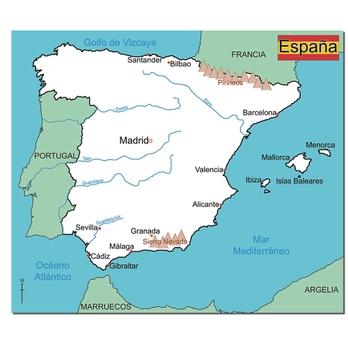 Map Of Spain Granada.Simple Map Of Spain