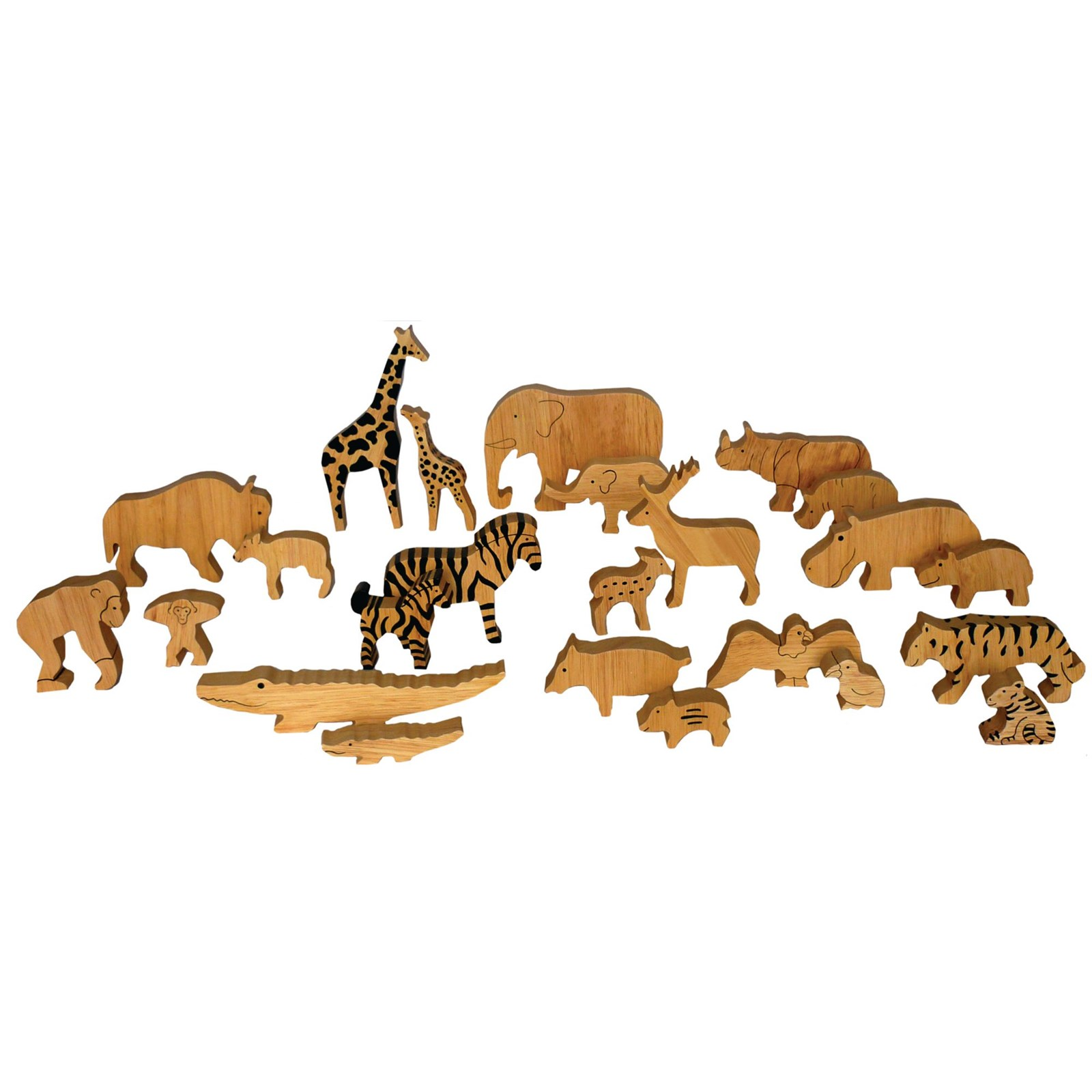 Parent and Child Wooden Animals - Pack of 24
