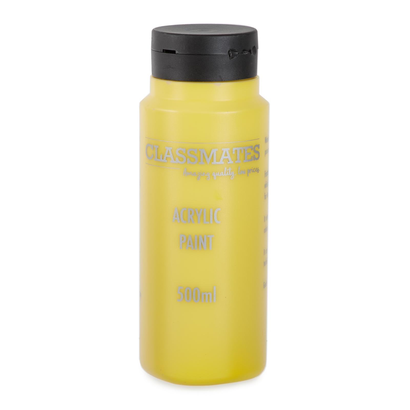 Classmates Acrylic Paint in Mid Yellow - 500ml Bottle