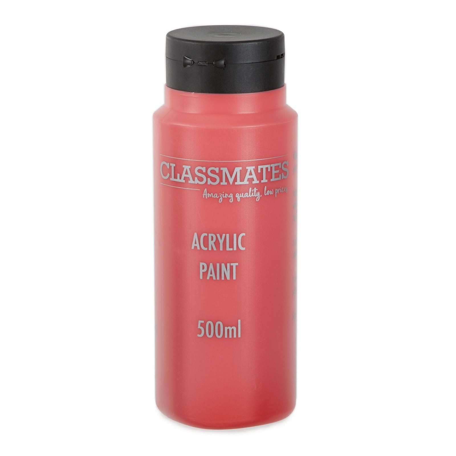 Classmates Acrylic Paint In Scarlet Red 500ml Bottle