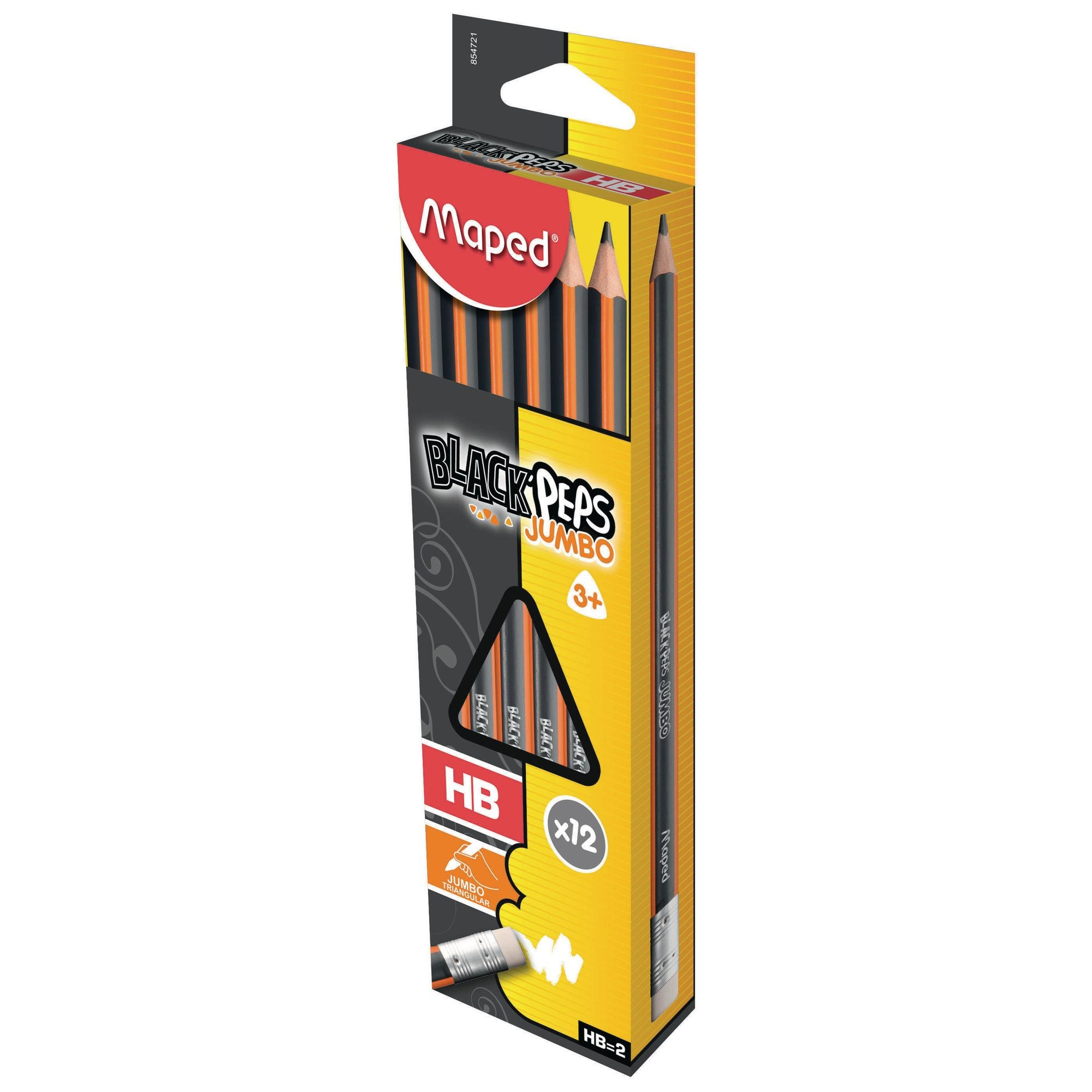 HB Graphite Eraser Tipped Learner Pencils - Pack of 12
