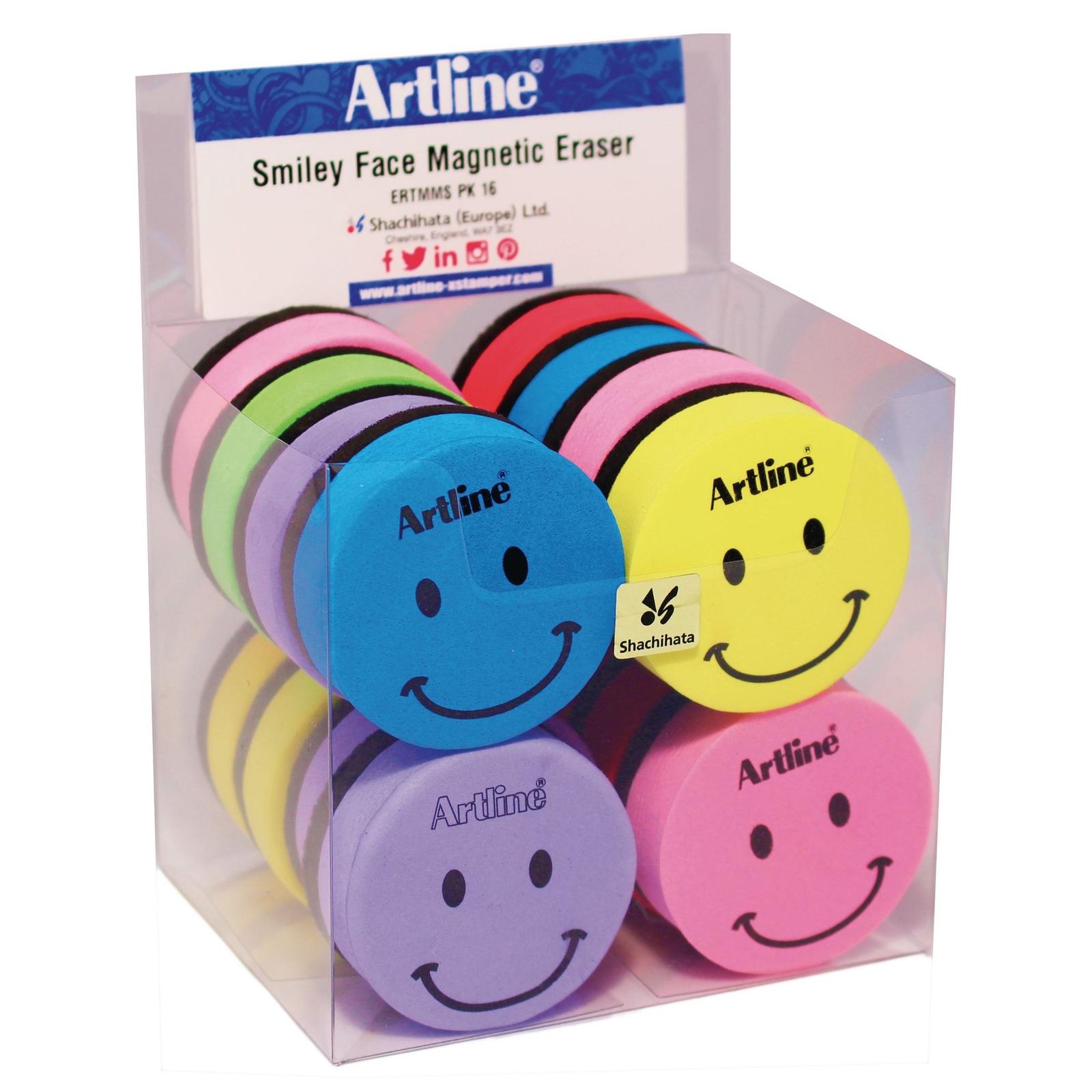 Grooved Artline Smiley Face Magnetic Board EraserAssorted - Pack of 16