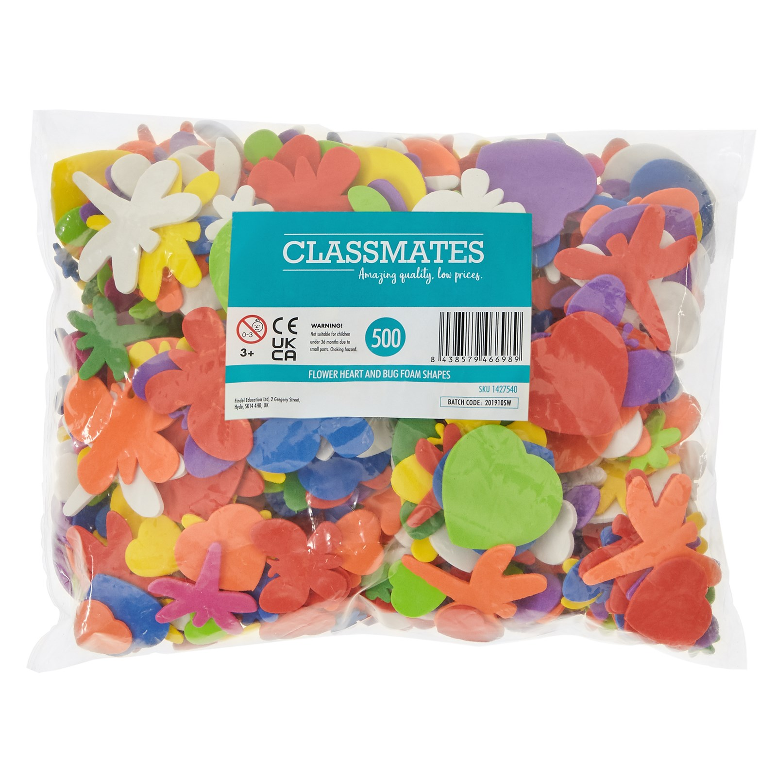Flower Heart and Bug Foam Shapes Pack of 500