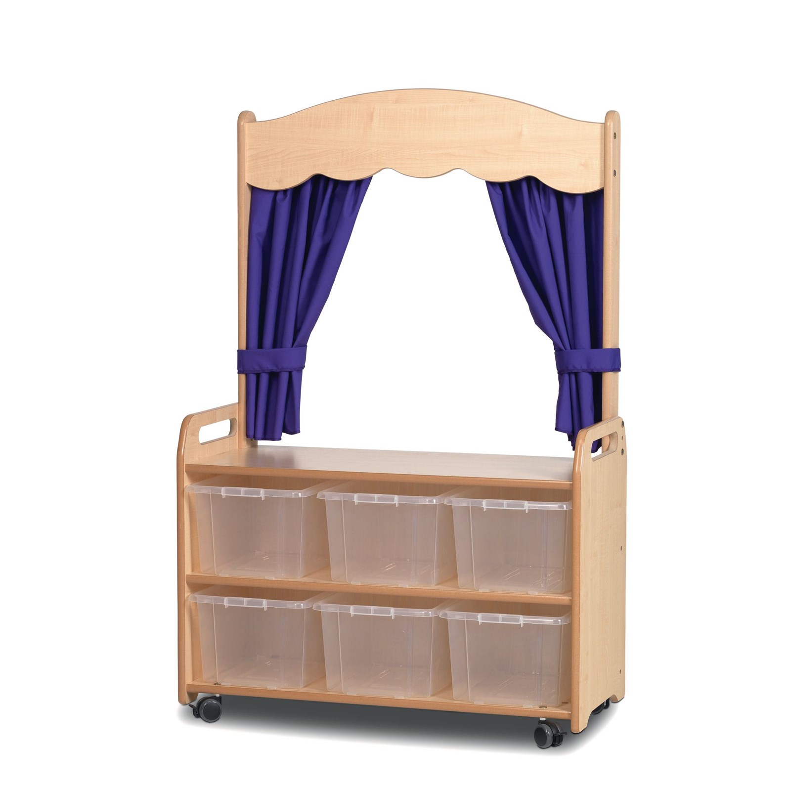 Playscapes Mobile Tall Unit Theatre 6 Clear Tubs