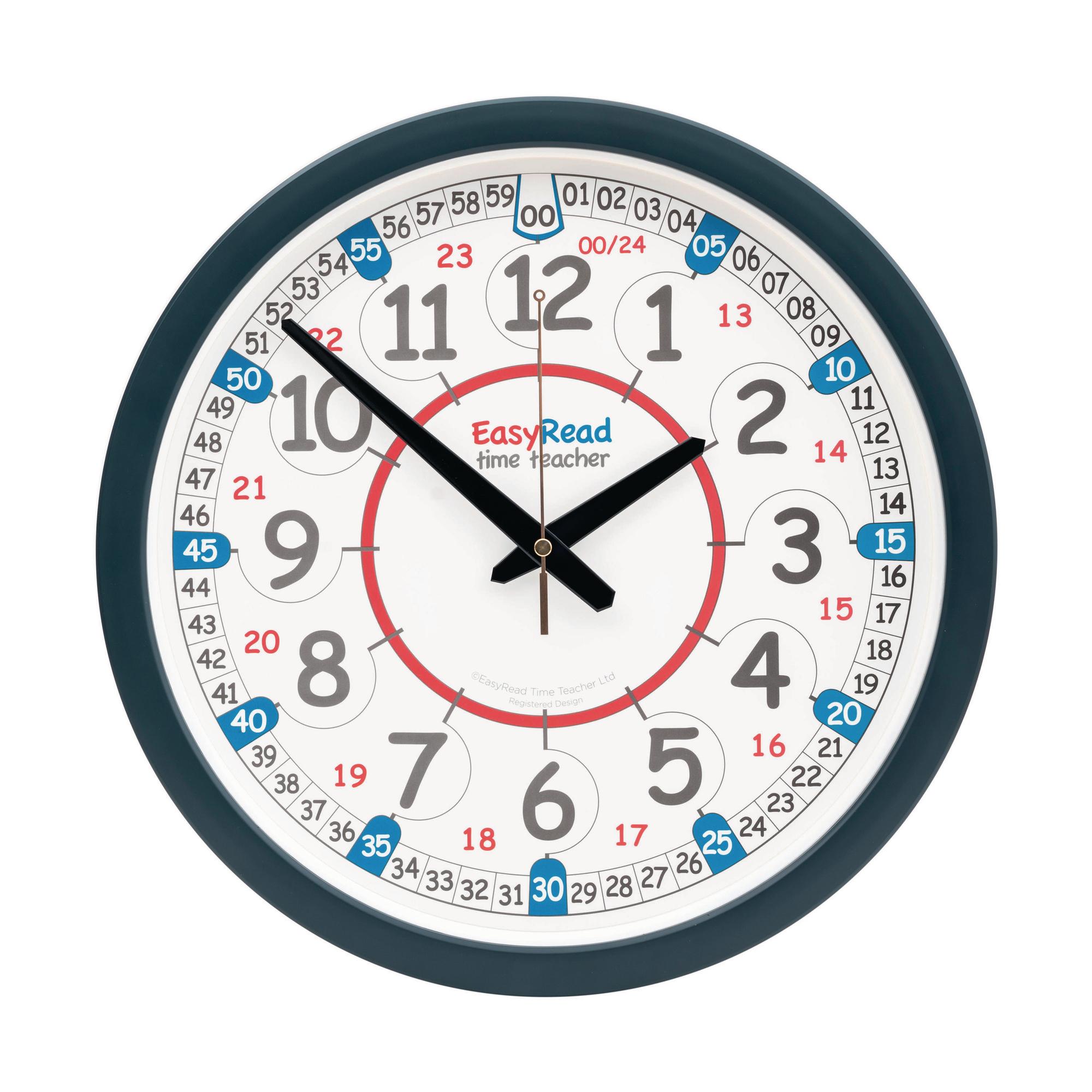 Easy Read Time Teacher 24 Hour Classroom Wall Clock