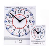 Easy Read Time Teacher - Twin Time Teacher Demonstration Clock