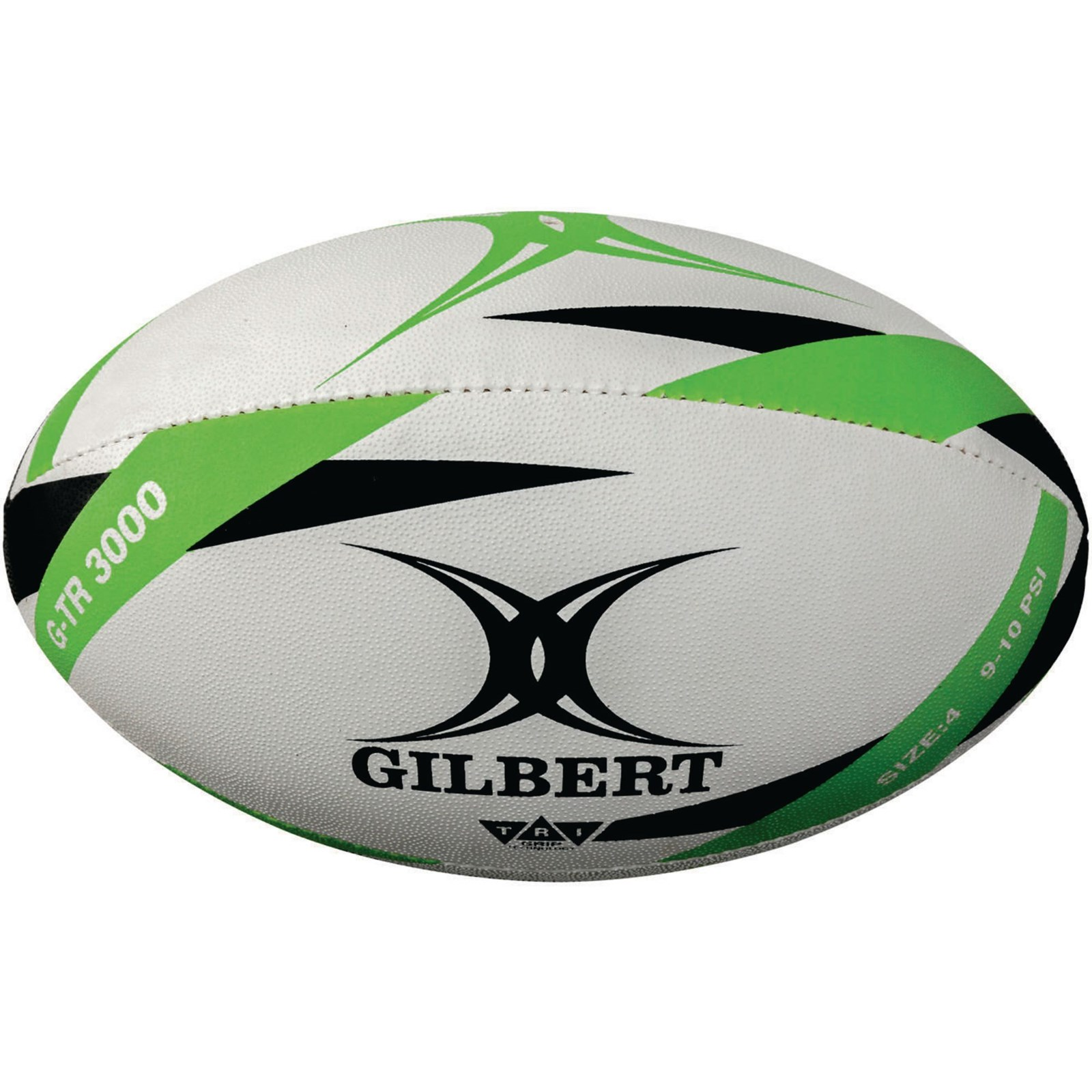 Gilbert G-TR3000 Trainer Rugby Ball - White/Green - Size 4