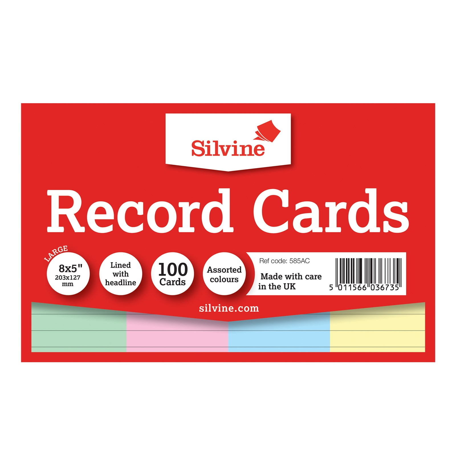 """Record 8"""" x 5"""" 100 Cards- Pack of 100"""