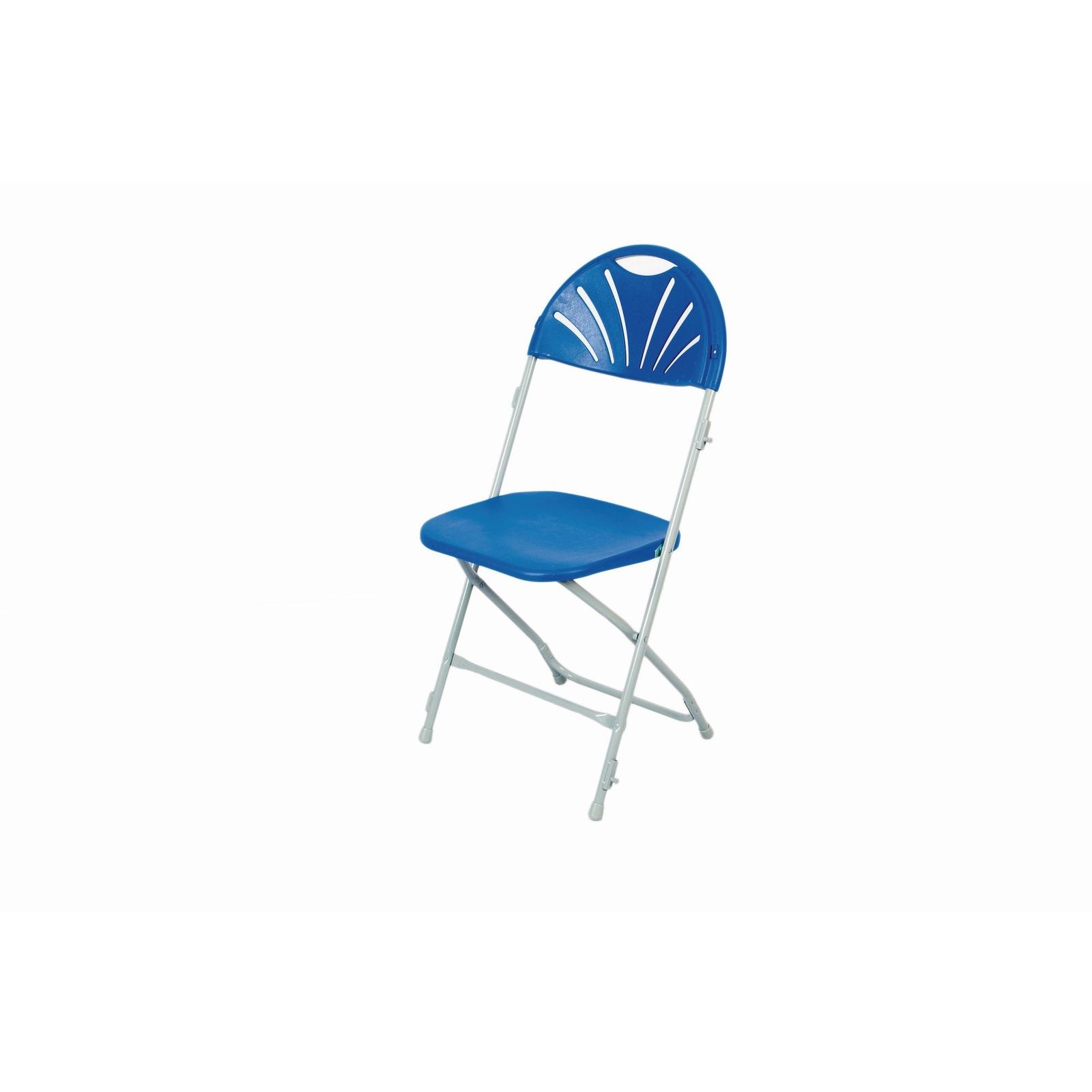 Fan Back Folding Link Chair Blue