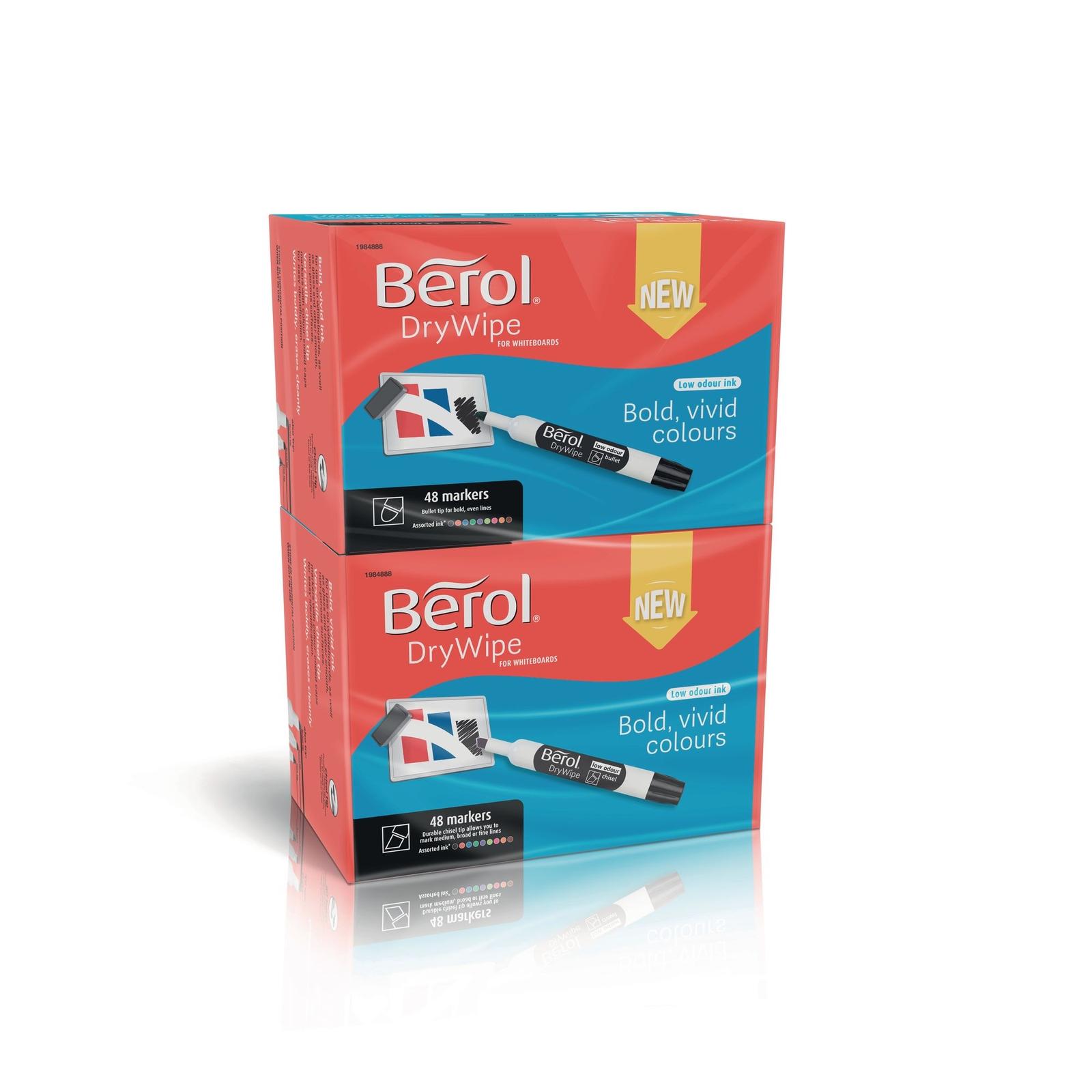 Berol Whiteboard Marker Assorted, Bullet Tip - Pack of 96