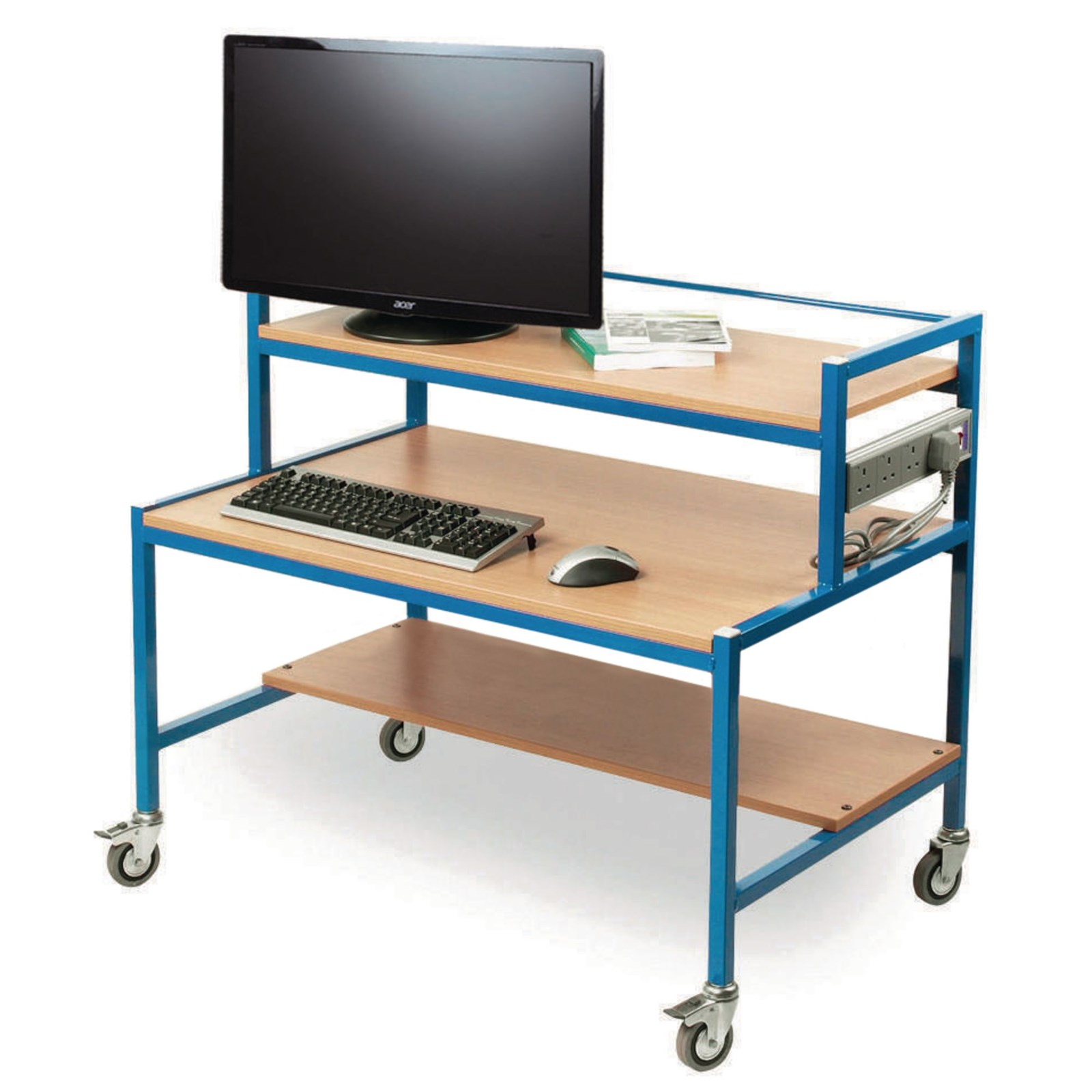 Comp Trolley 2 Tiered Blue