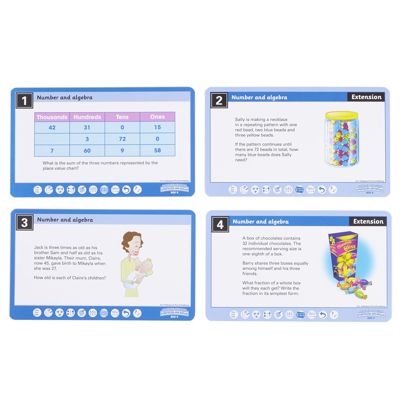 HOPE Maths Problem Solving Cards Year 4 - Number and Algebra ...