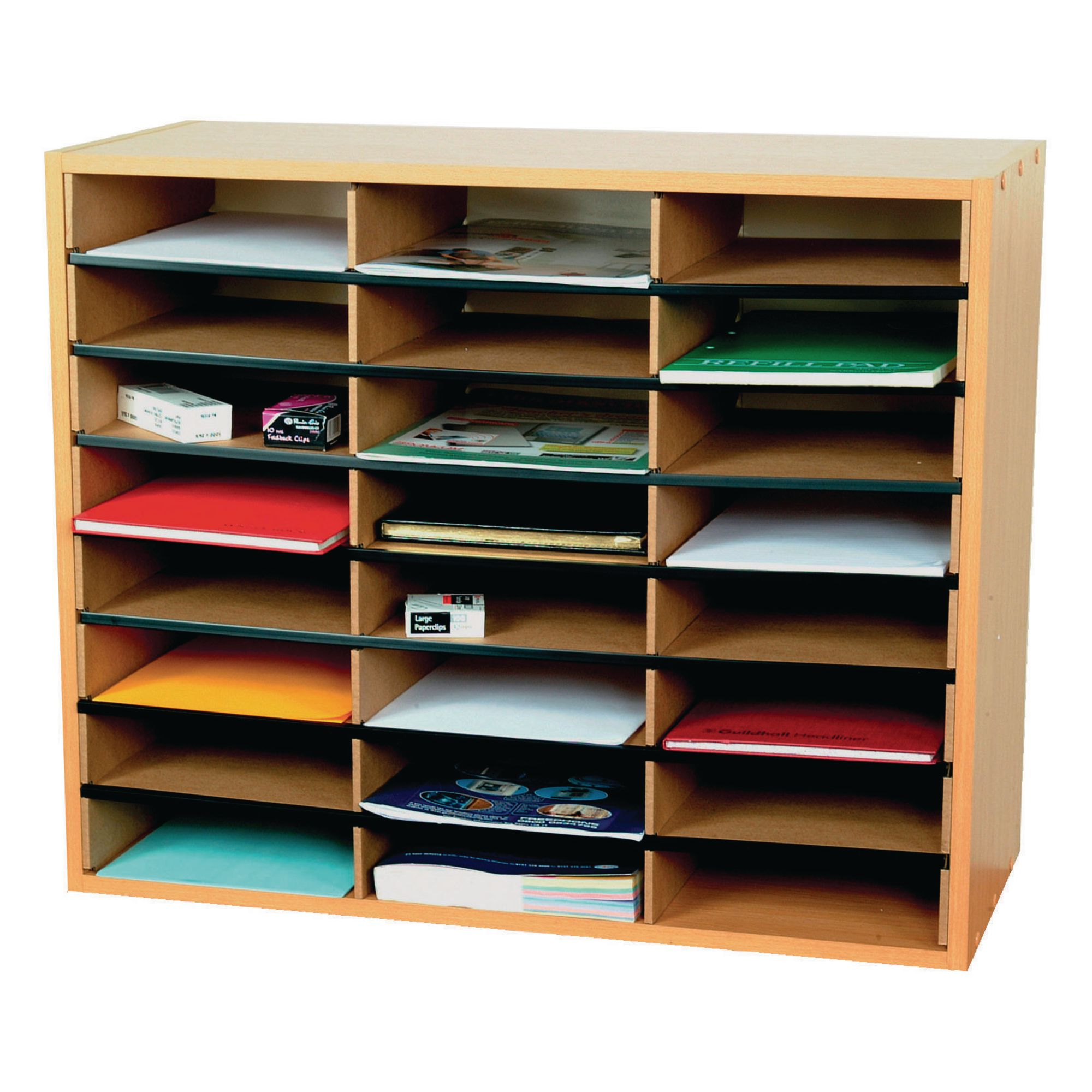 Pigeon Hole Unit 24 Section Beech Gls Educational Supplies
