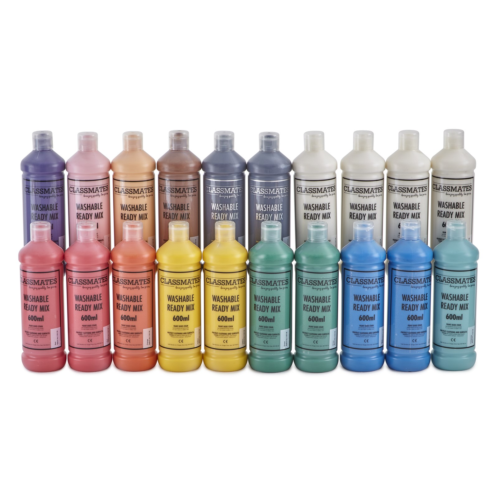 Classmates Washable Ready Mixed Paint in Assorted - Pack of 20 - 600ml Bottle