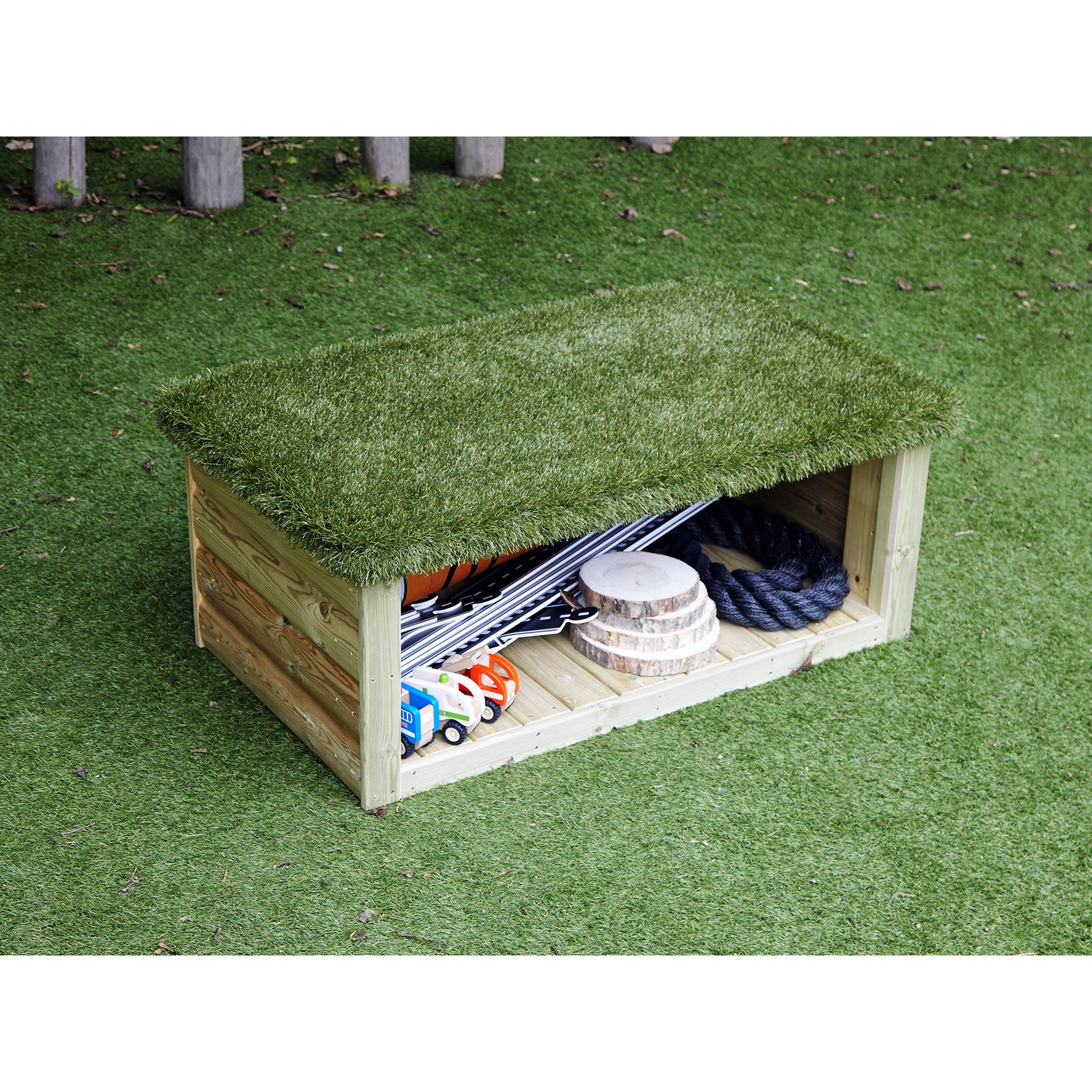 Grass Topped Bench with Storage