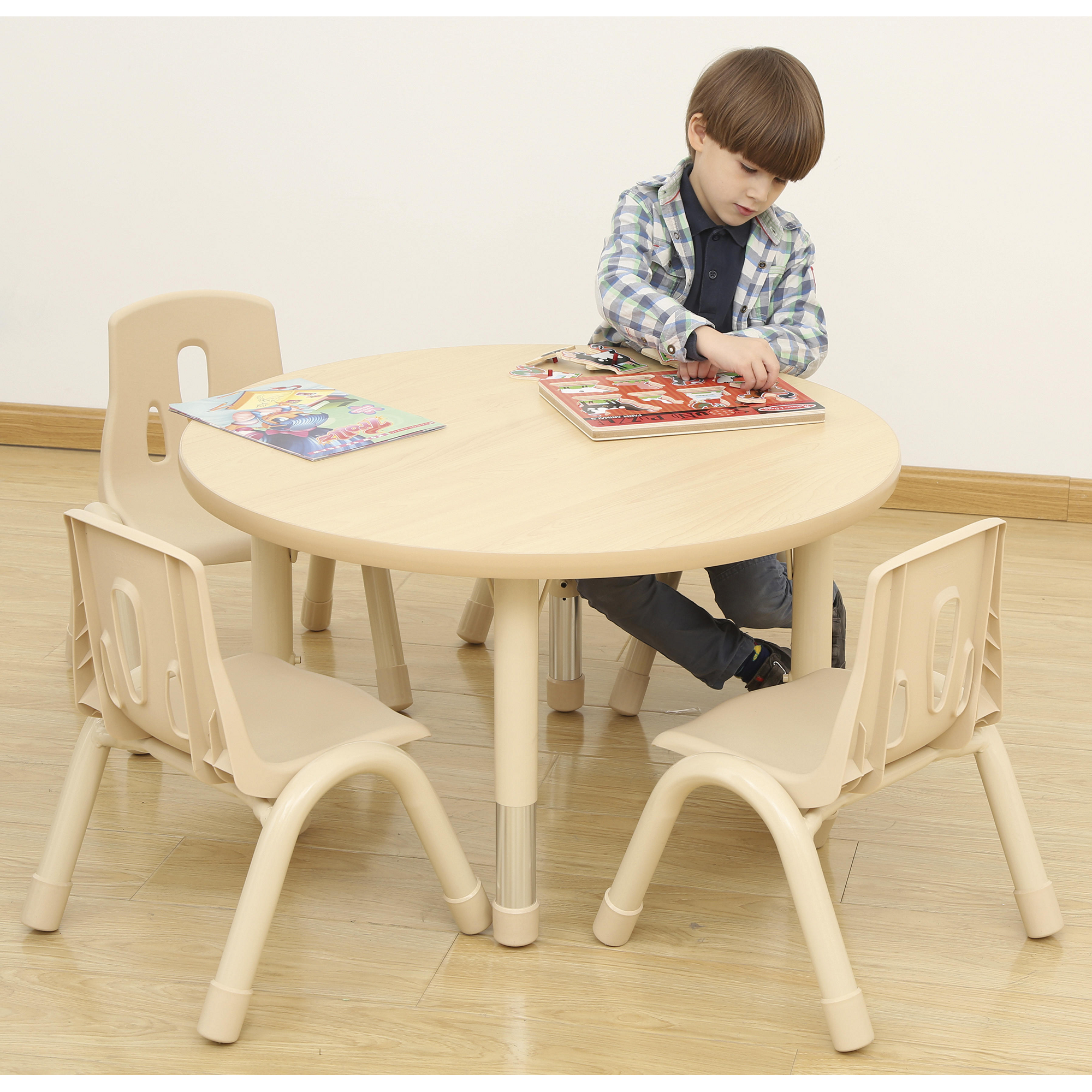 Elegant Circular Table - 4 Seater with 4 Chairs | GLS Educational Supplies & Elegant Circular Table - 4 Seater with 4 Chairs | GLS Educational ...