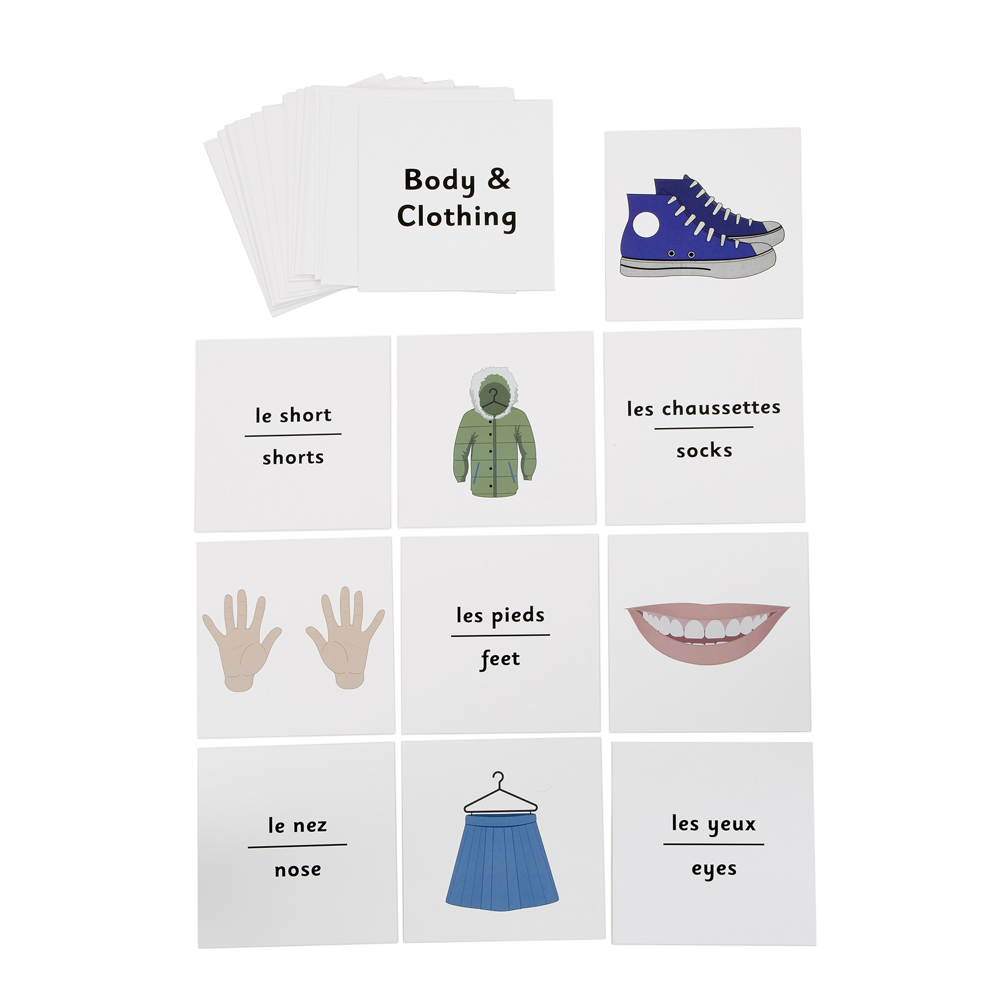 French Dice Cards - Body And Clothing