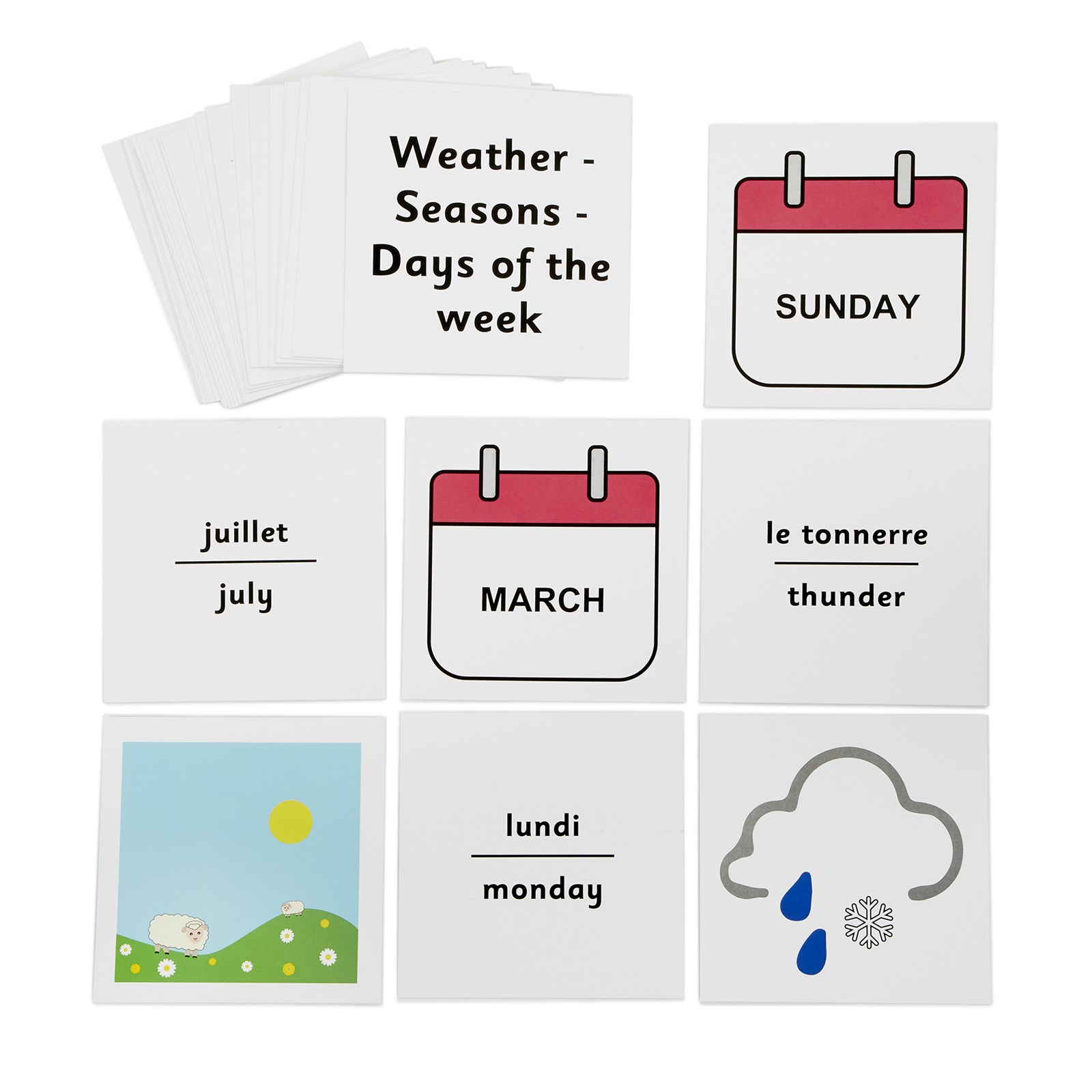 French Dice Cards Weather