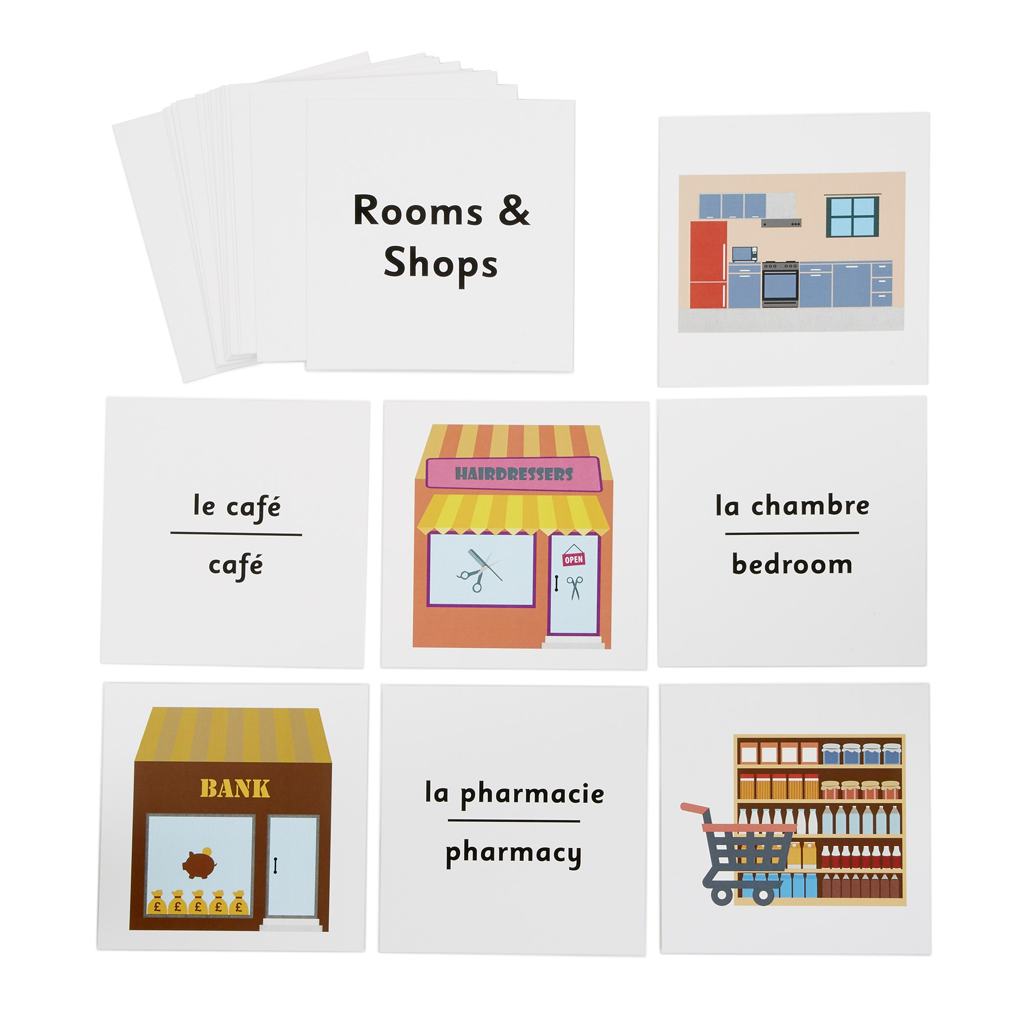 French Dice Cards - House-shops