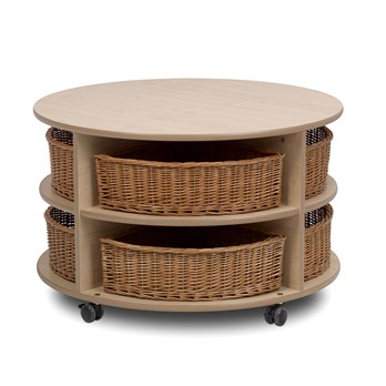 Circular Storage Unit And Wicker Baskets