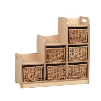 Stepped Storage Unit Right Wicker Baskets