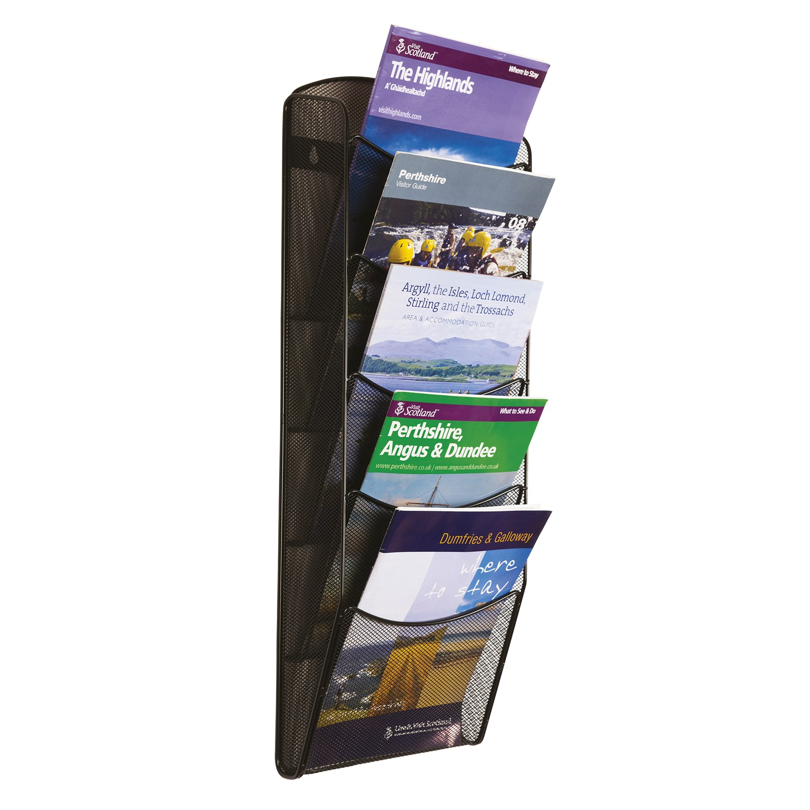 Wall Mounted Mesh Leaflet Dispenser 5 x A4