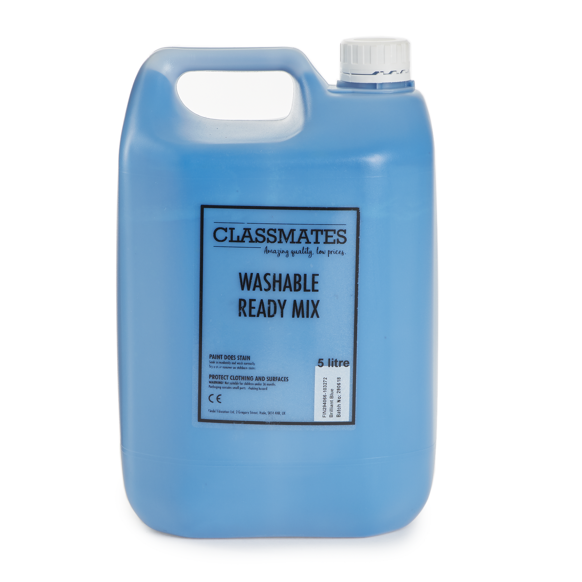 Hc1765309 Classmates Washable Ready Mixed Paint In Blue 5 Litre Bottle Findel International