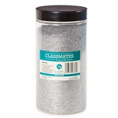 Classmates 1kg Glitter Tub with Scoop - Silver