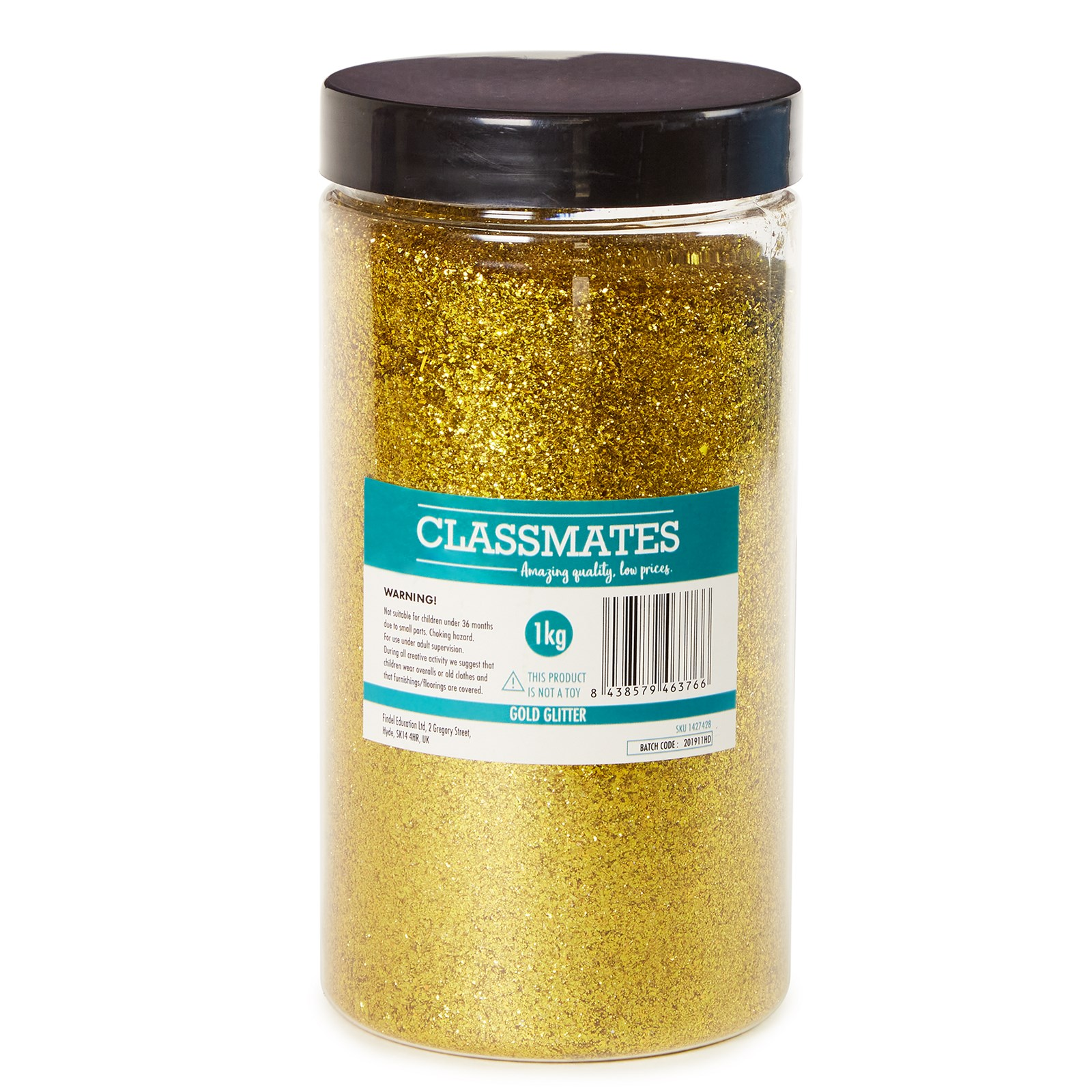 Classmates 1kg Glitter Tub with Scoop - Gold