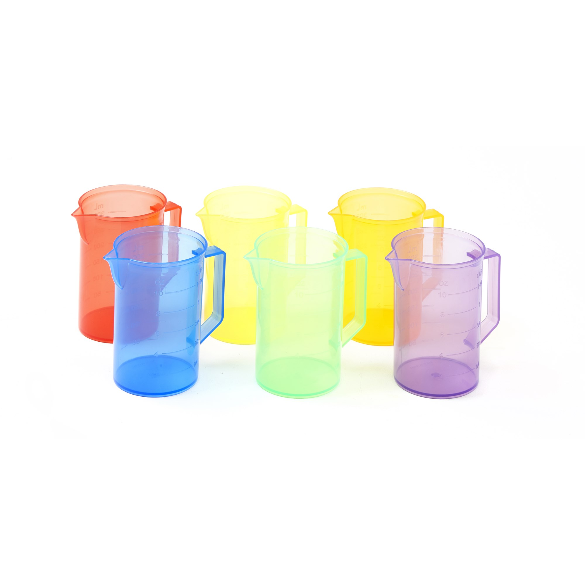 Transparent Coloured Pitchers (Pack of 6)