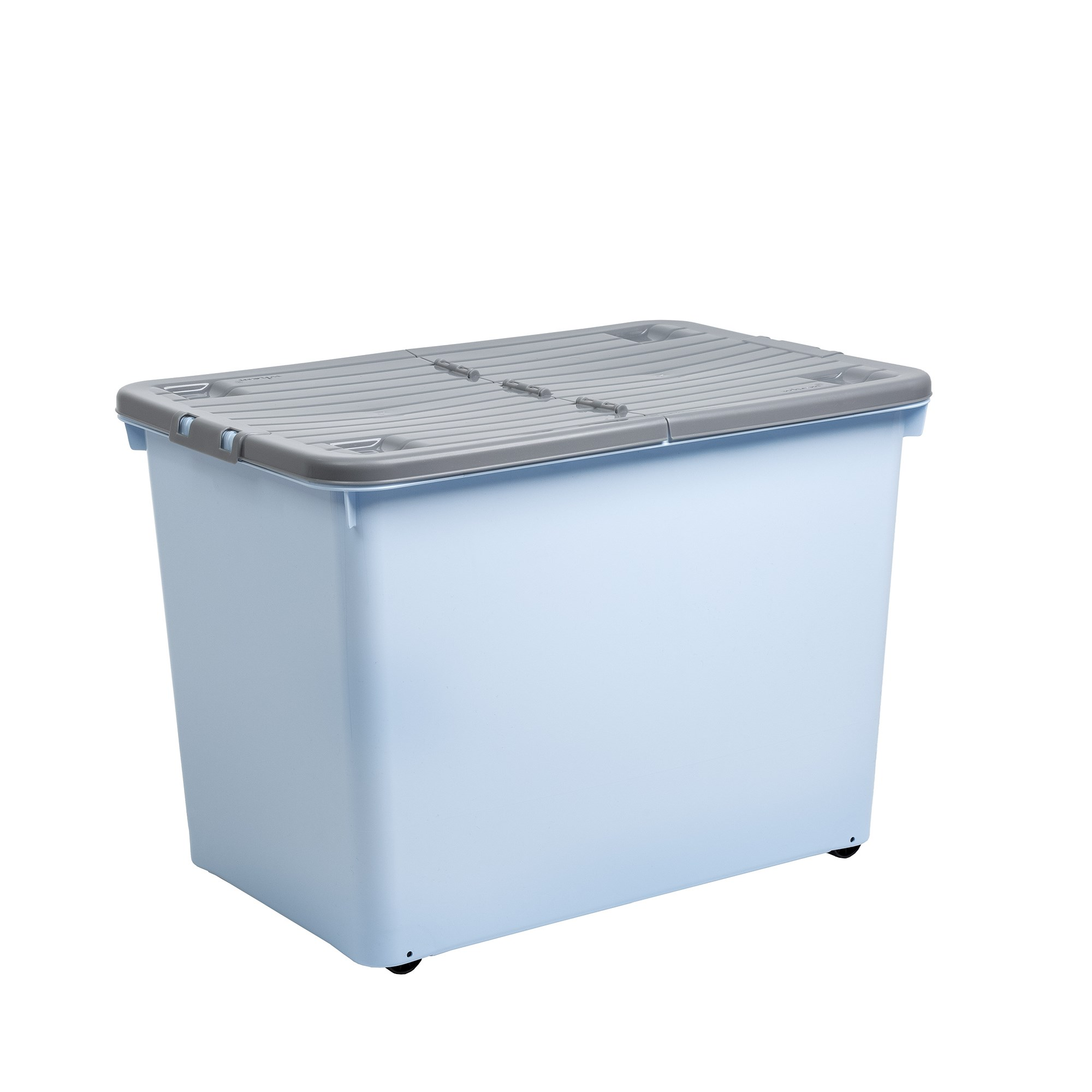 80l Wheel Box Fold Lid Cool Blue Steel