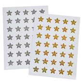 Gold and Silver Star Stickers 24mm