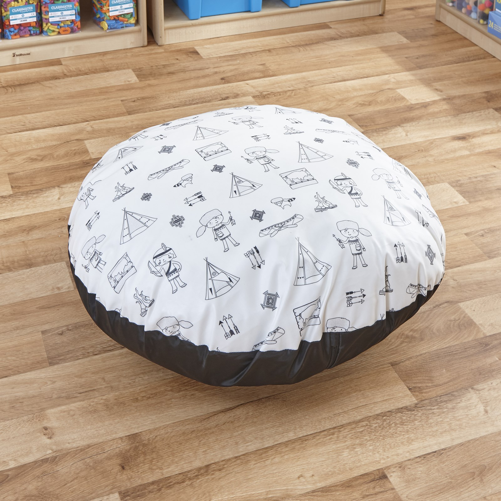 Welcome to My Tribe Wipe Clean Giant Round Coated Floor Cushion