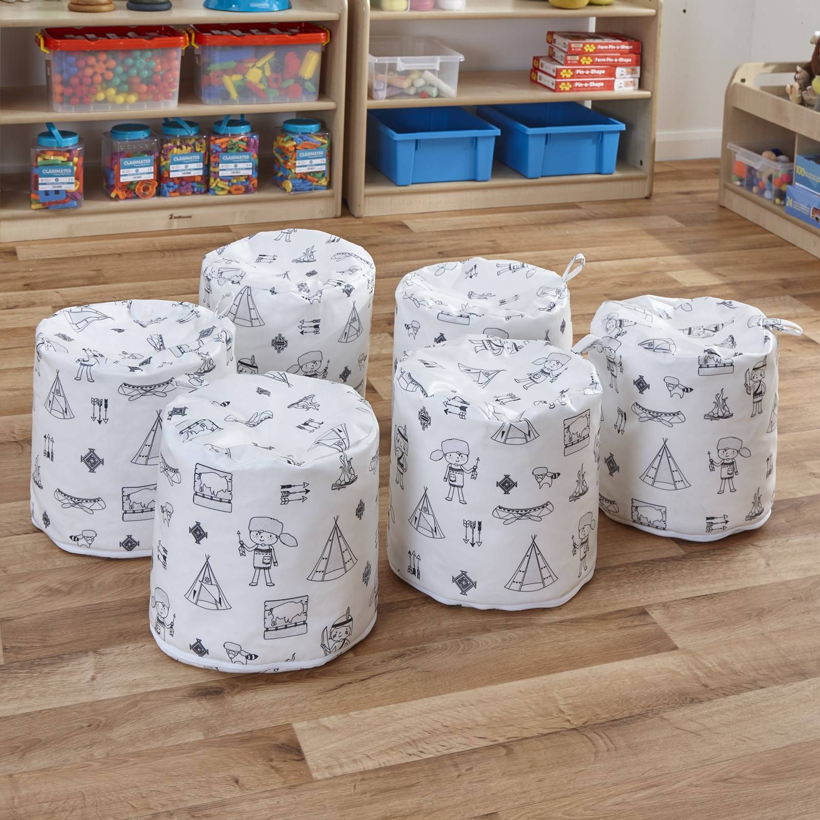 Welcome To My Tribe Wipe Clean Coated Set Of 3 Pouffes