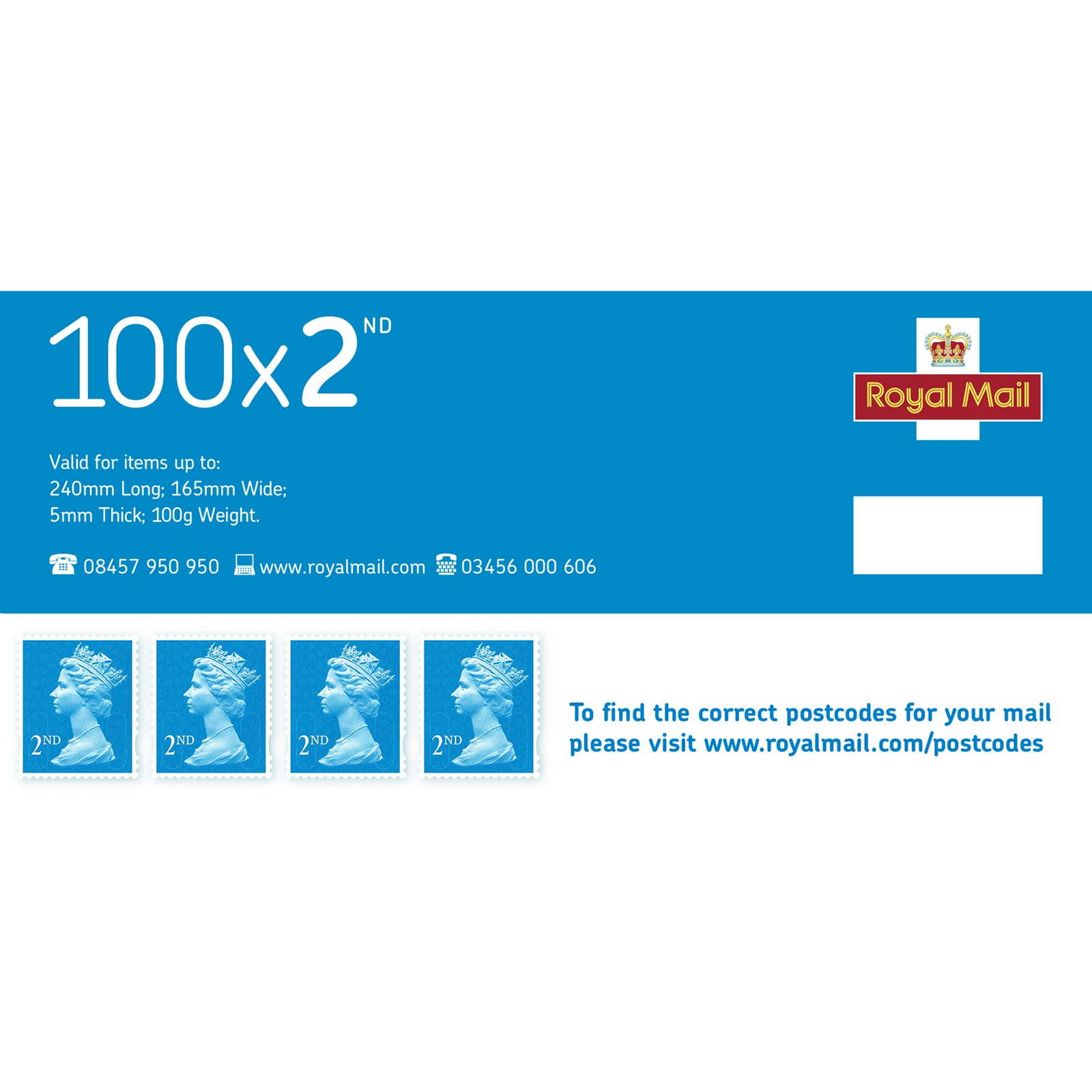 Royal Mail 2nd Class Stamps - Sheet of 100