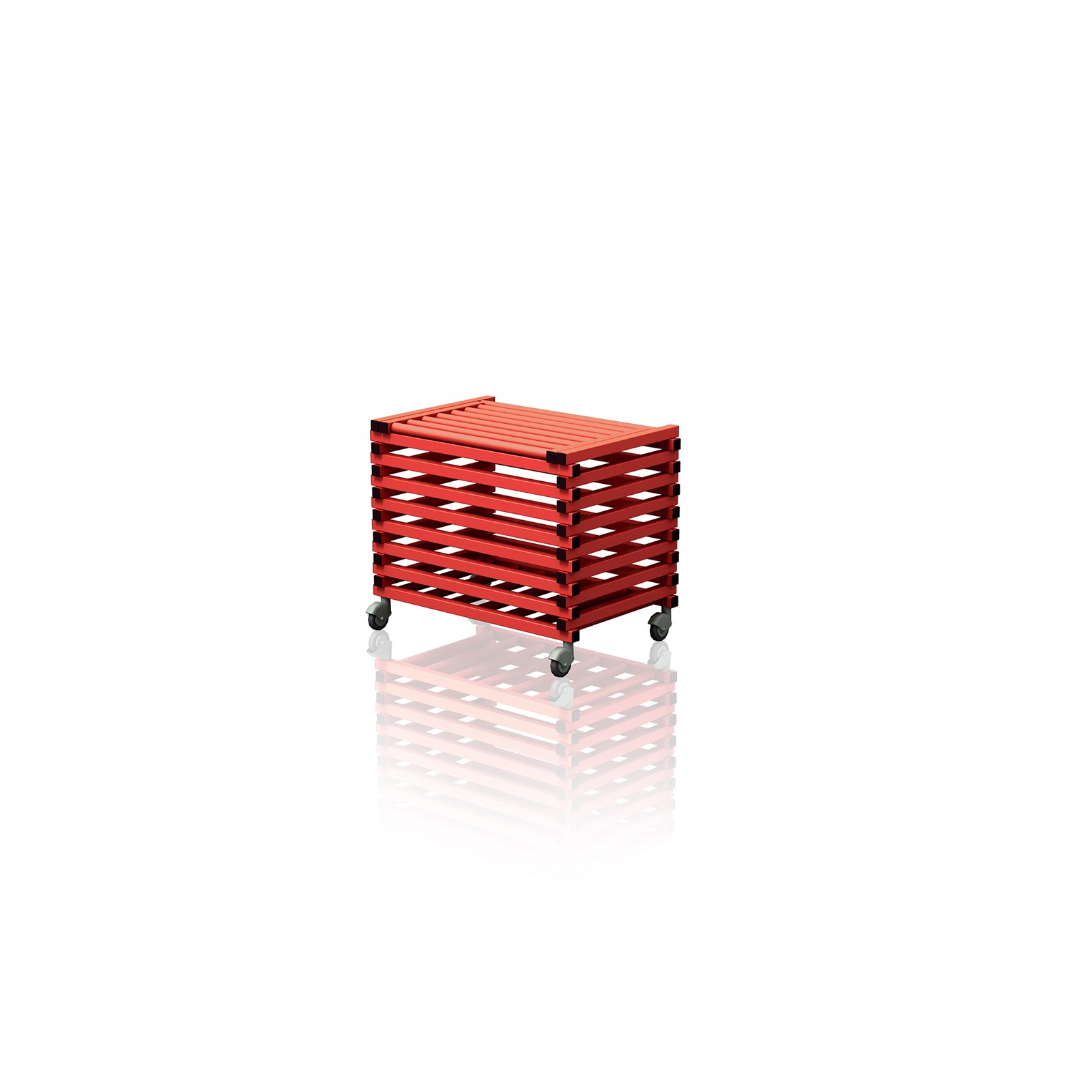 Equipment Trolley With Top Cover Red