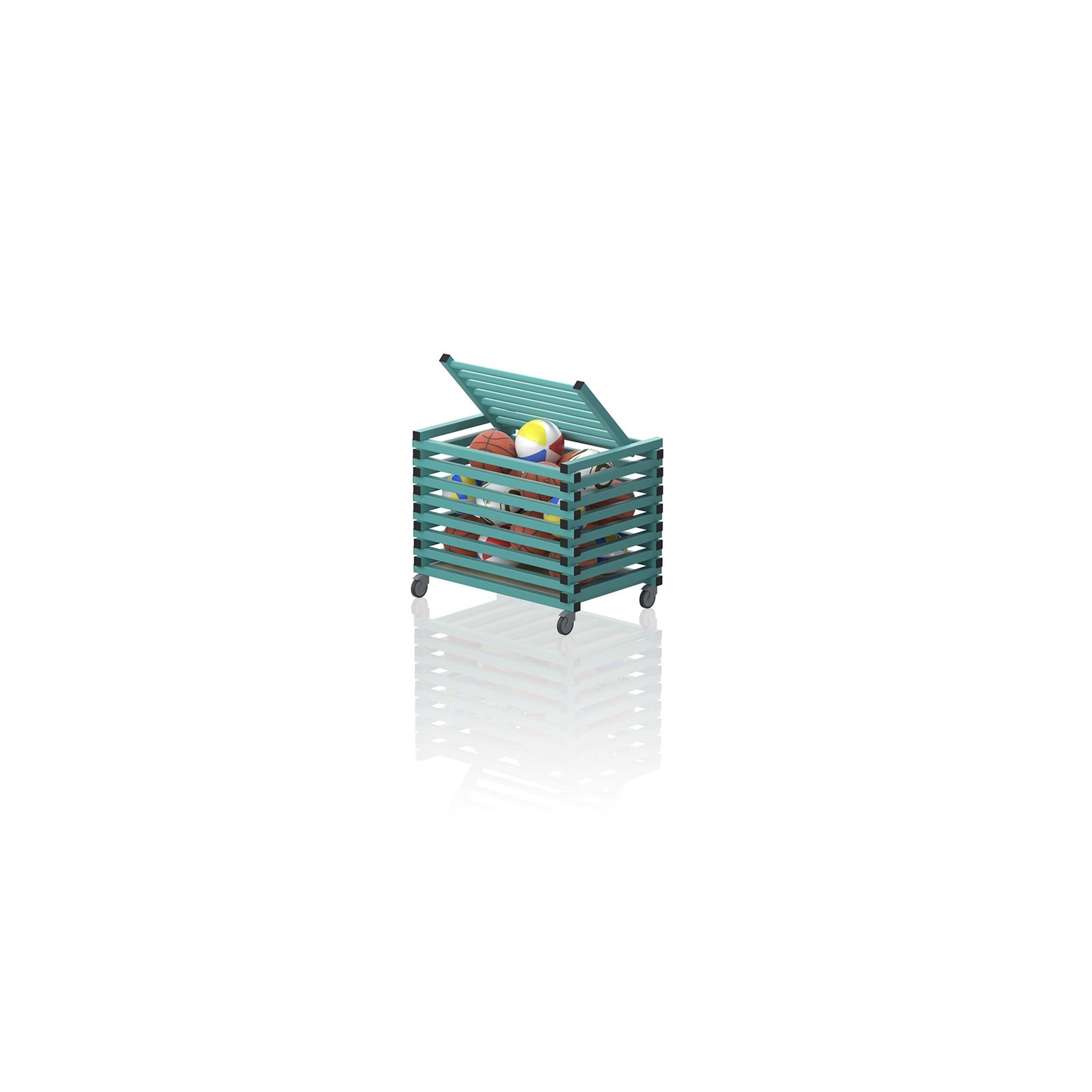 Equipment Trolley With Top Cover Aqua