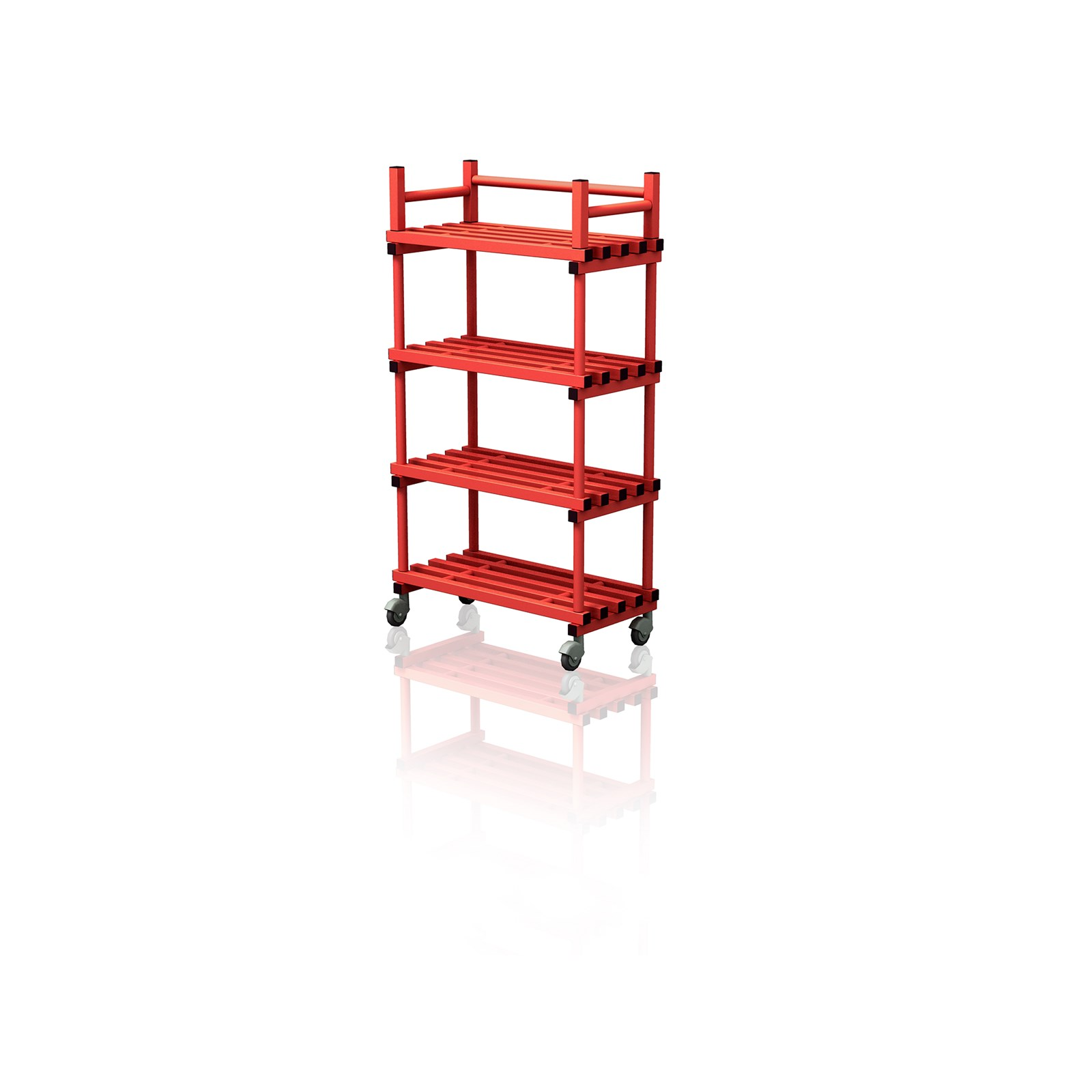 Mobile Shelving Unit Red