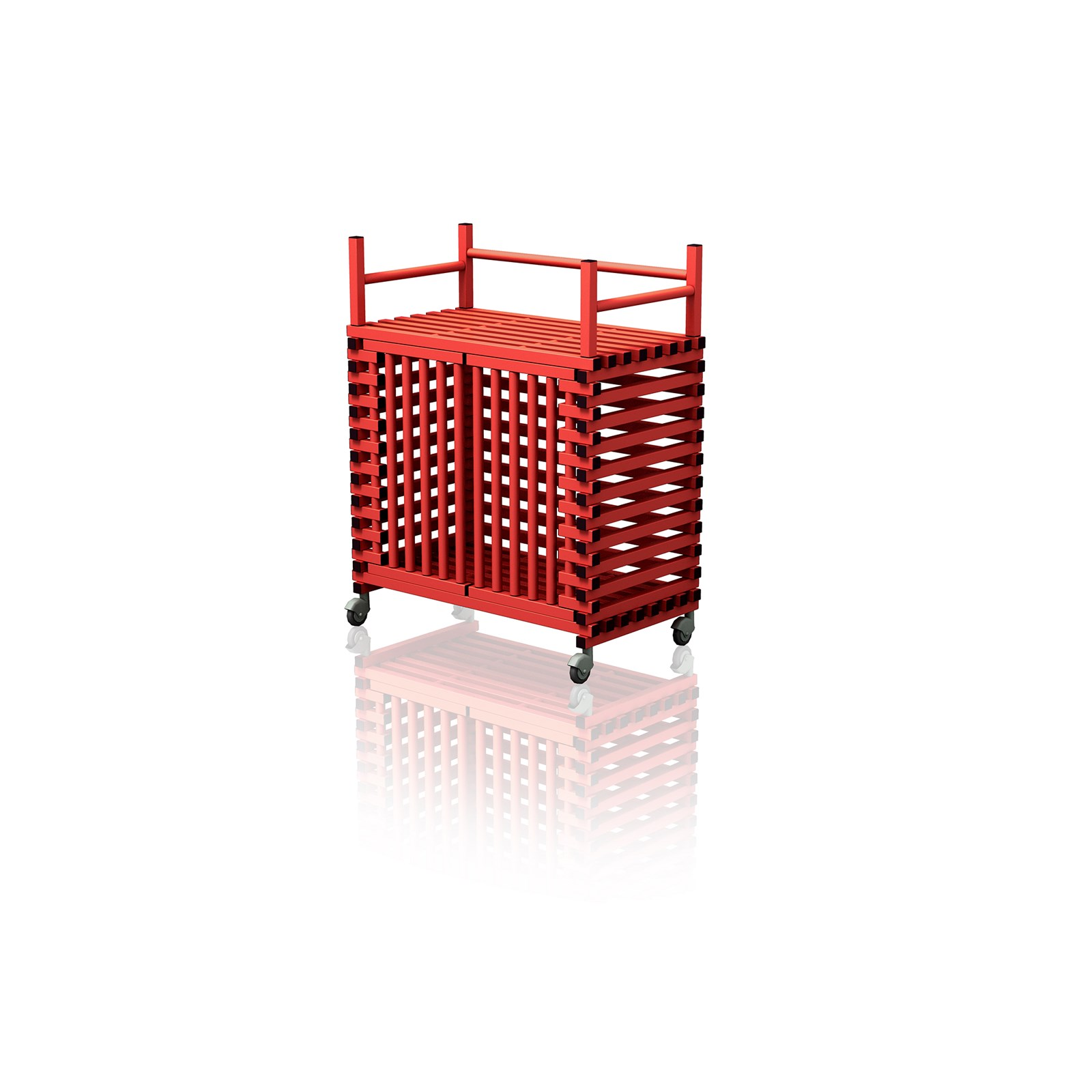 Equipment Trolley With Top Rack Red