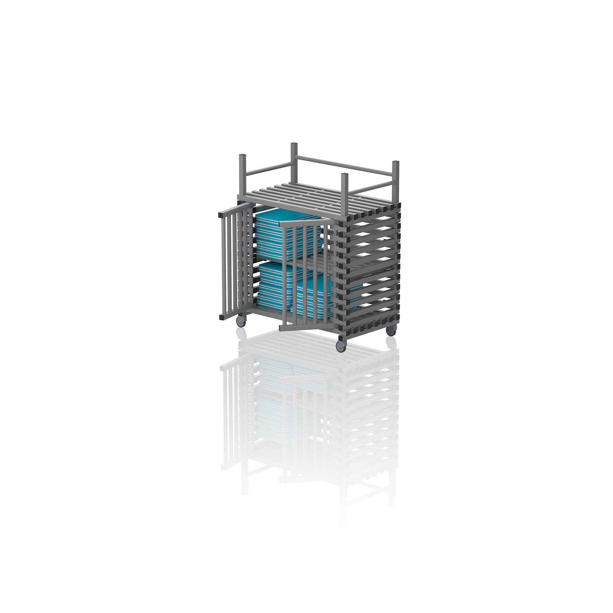 Equipment Trolley With Top Rack Grey