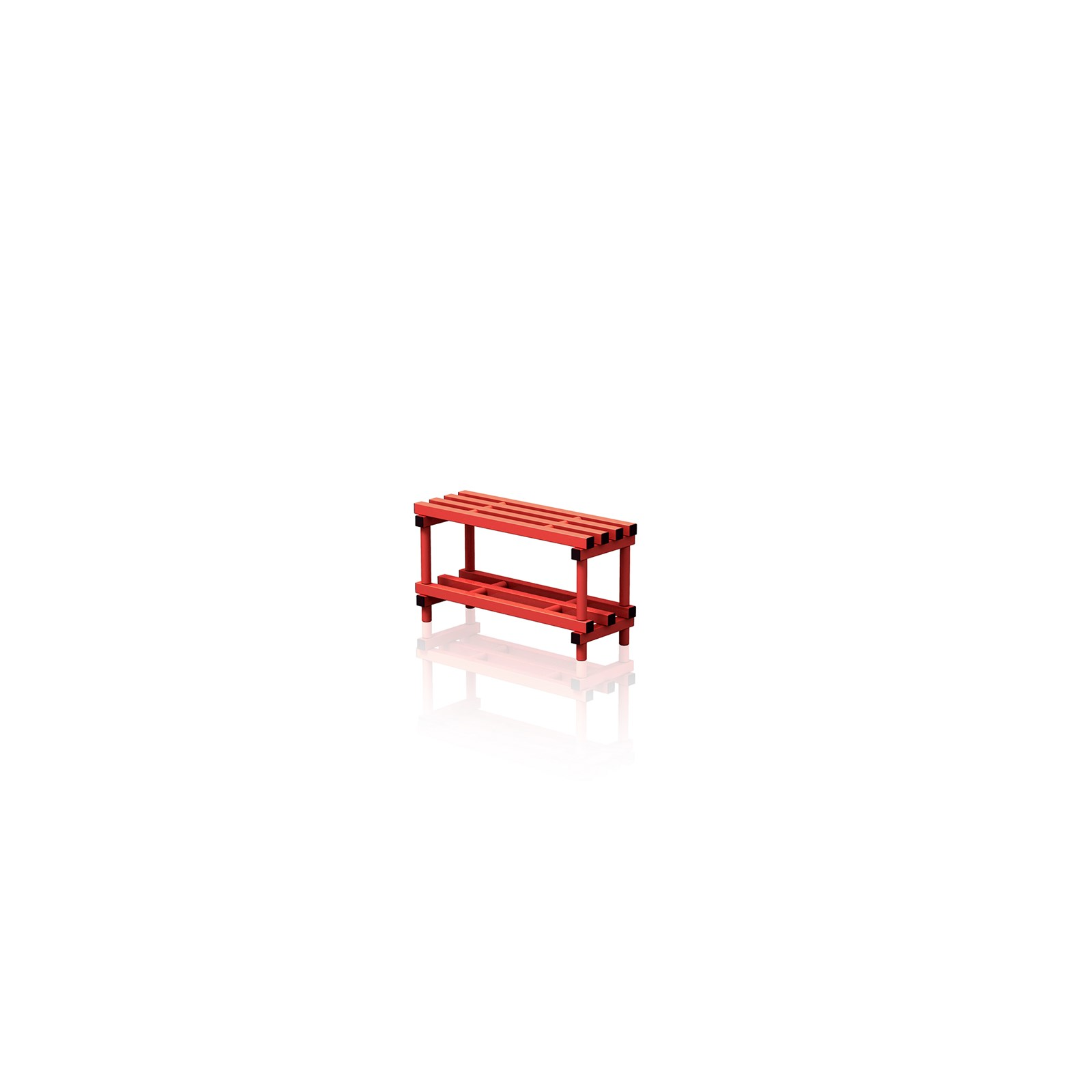 Bench With Bottom Shelf Small Red